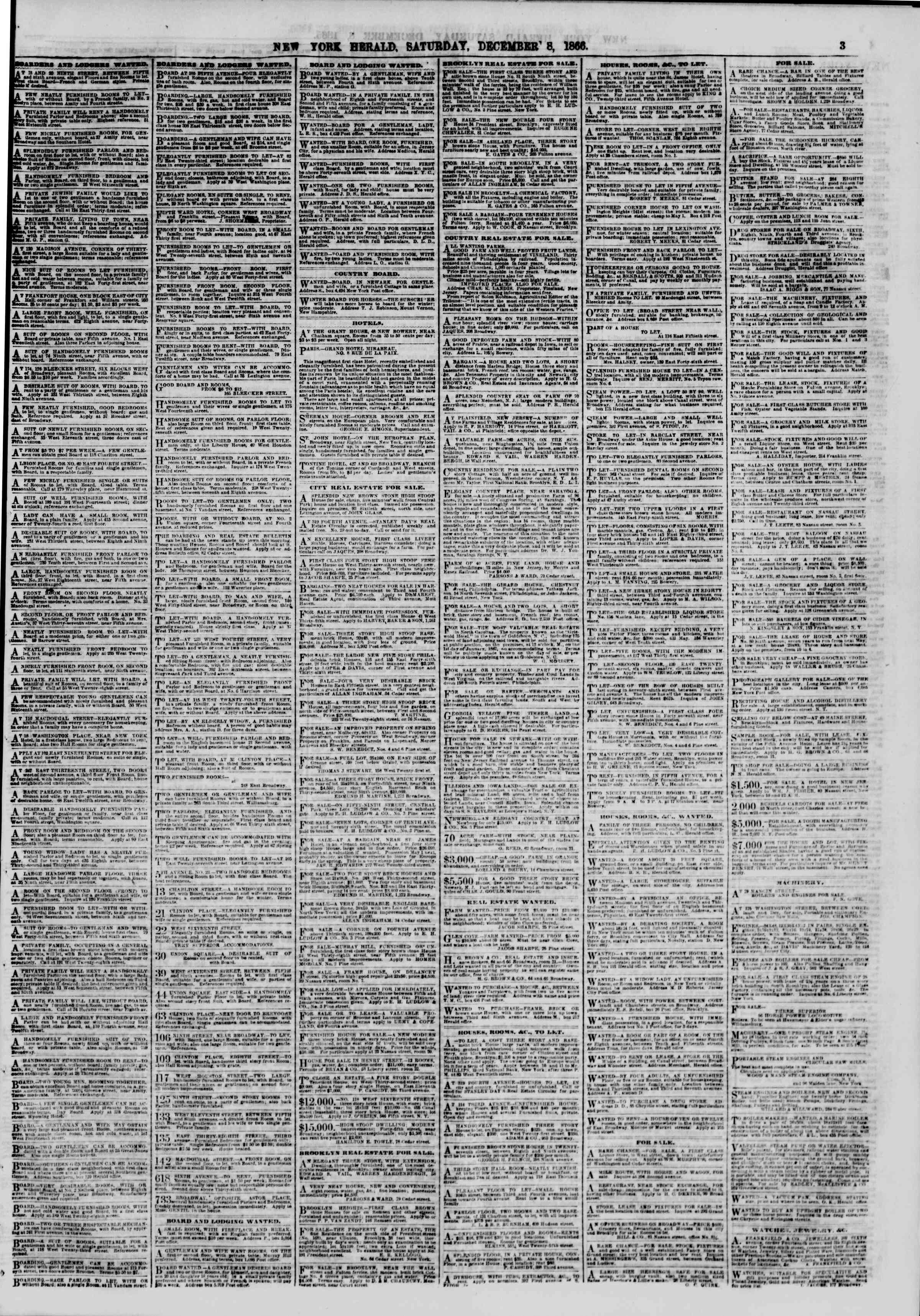 Newspaper of The New York Herald dated December 8, 1866 Page 4
