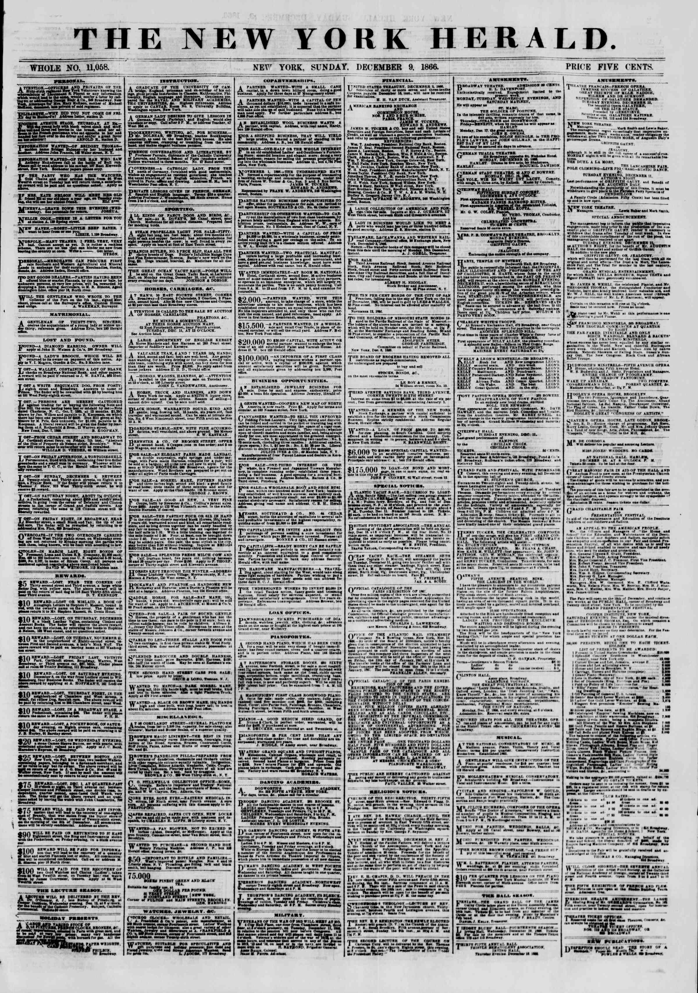 Newspaper of The New York Herald dated December 9, 1866 Page 1