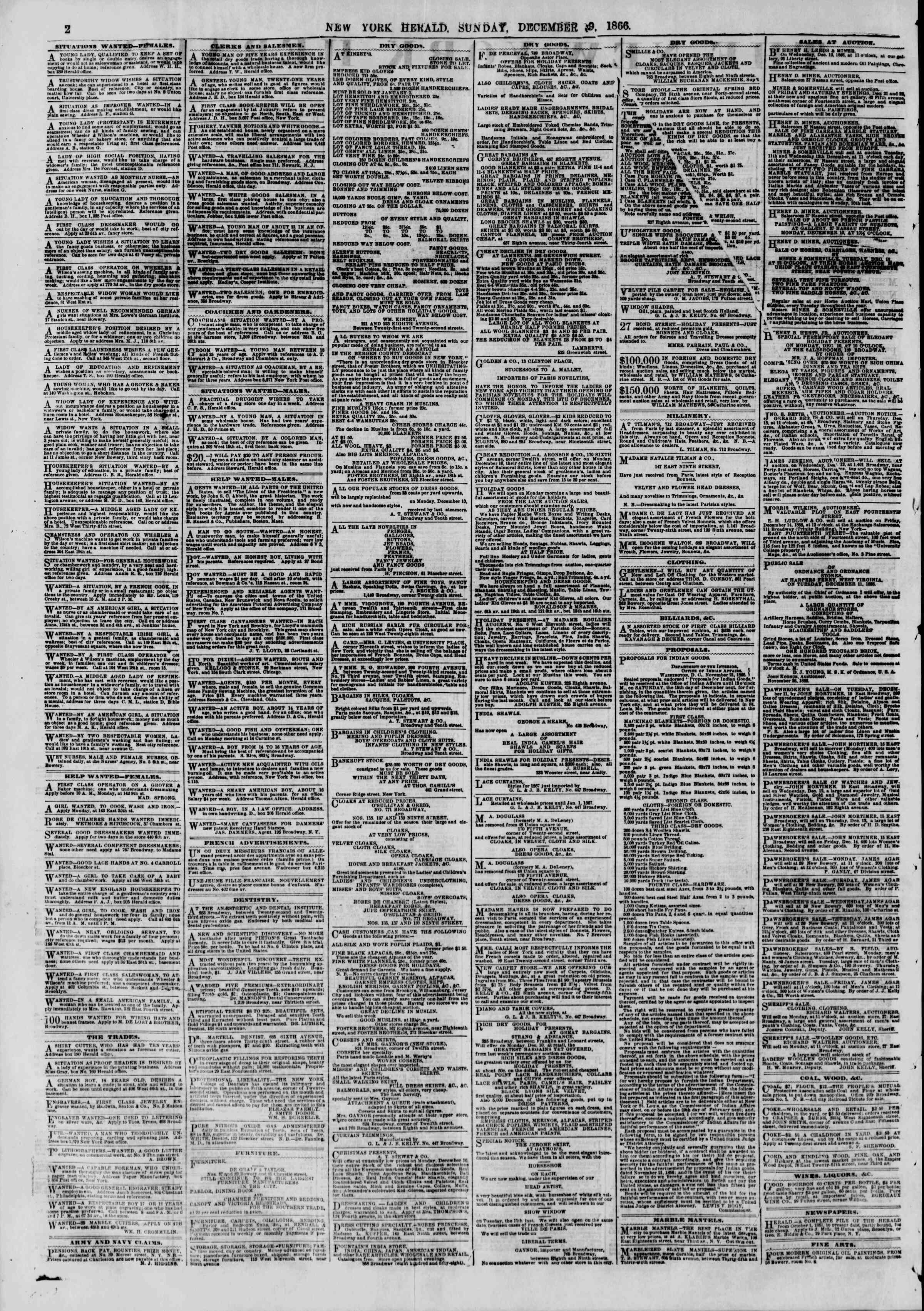 Newspaper of The New York Herald dated December 9, 1866 Page 2