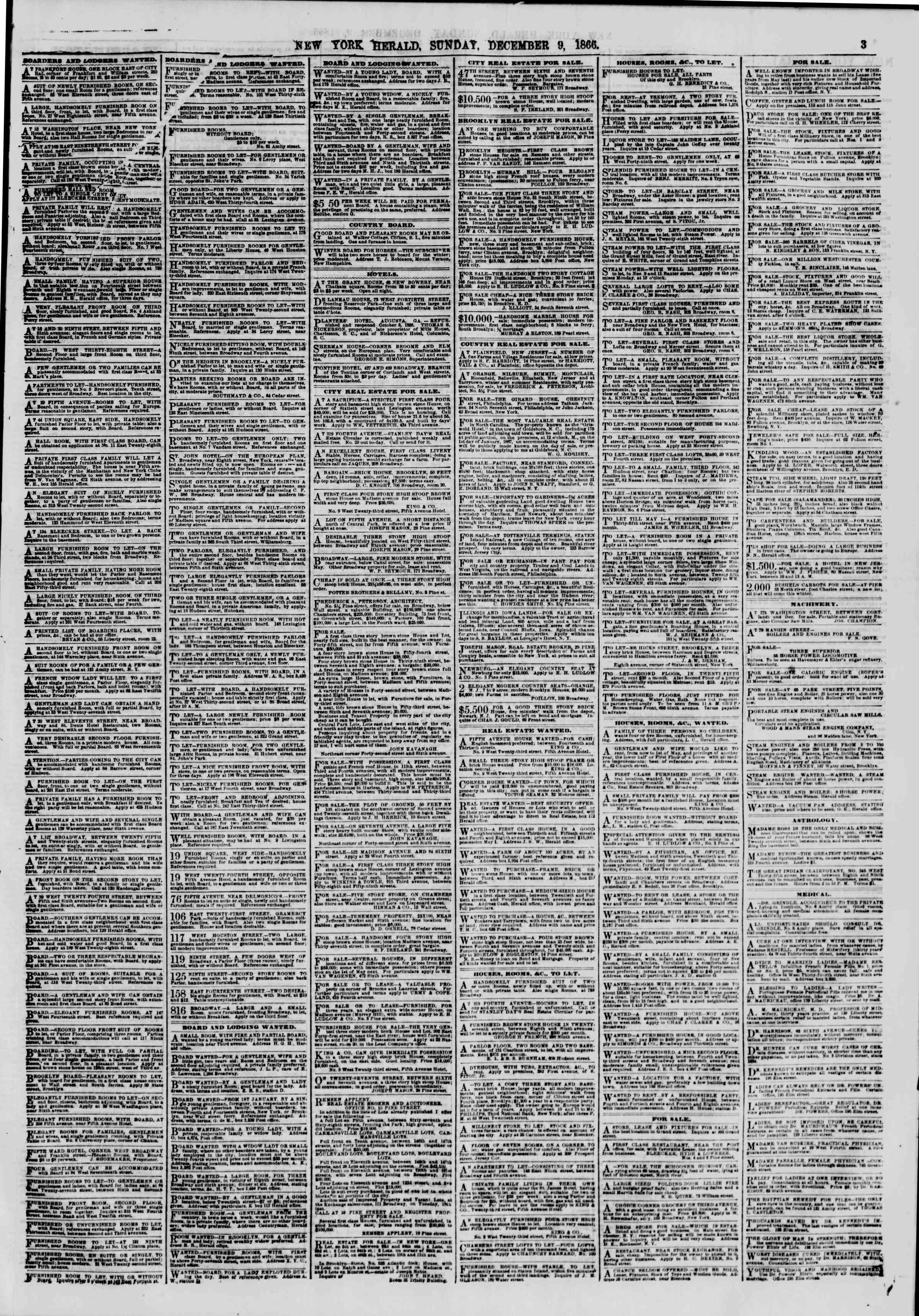 Newspaper of The New York Herald dated December 9, 1866 Page 3