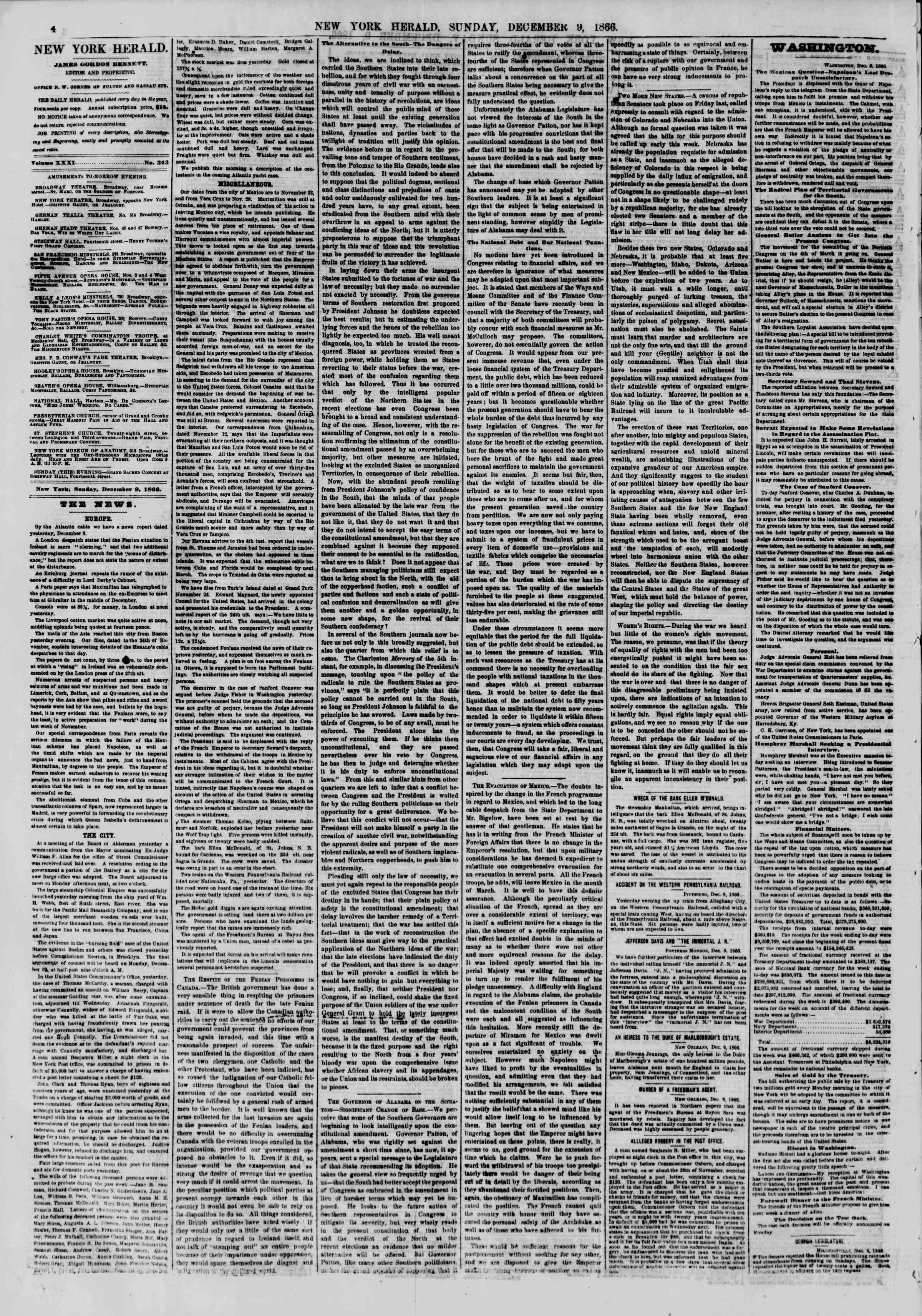 Newspaper of The New York Herald dated December 9, 1866 Page 4