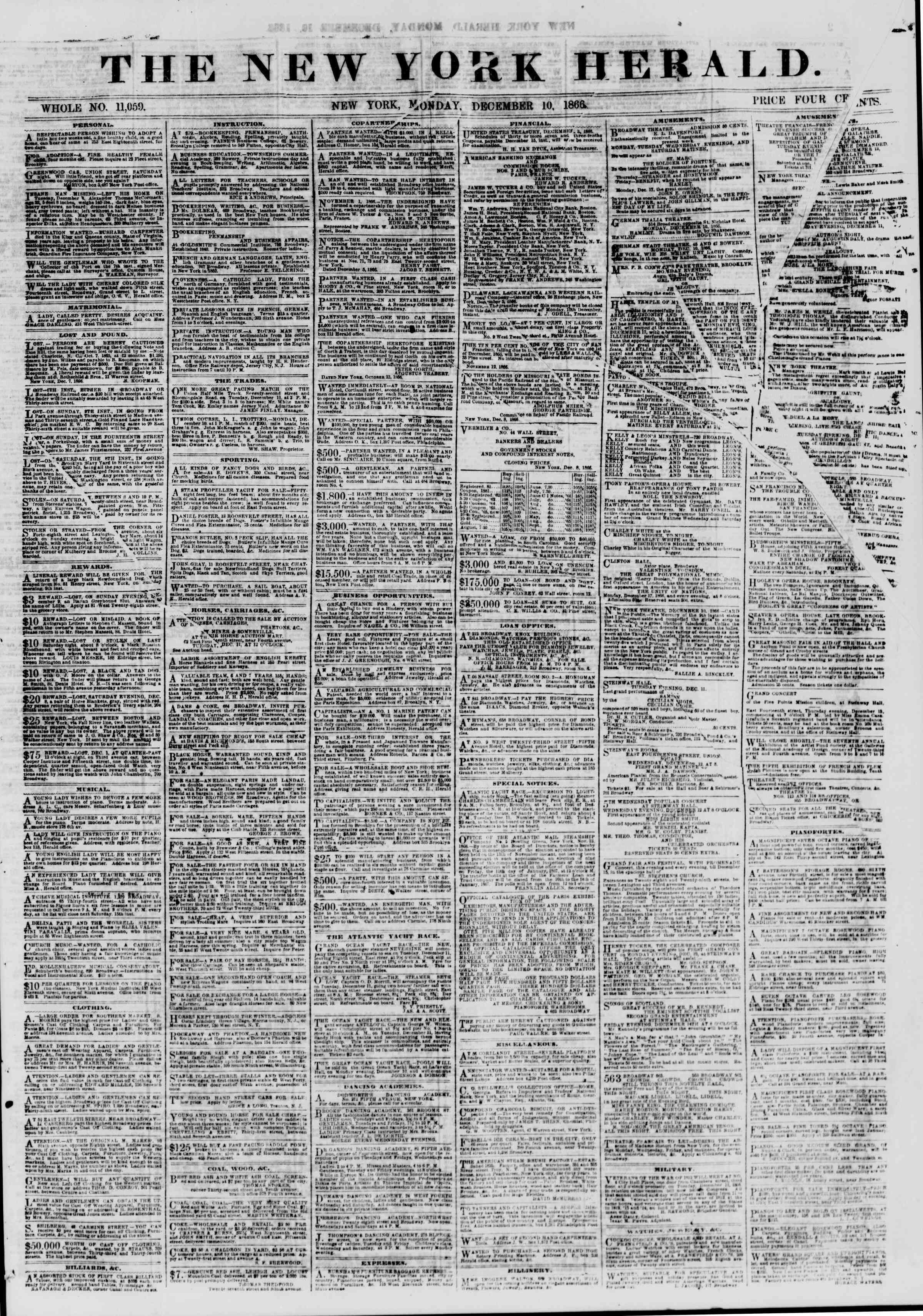 Newspaper of The New York Herald dated December 10, 1866 Page 1