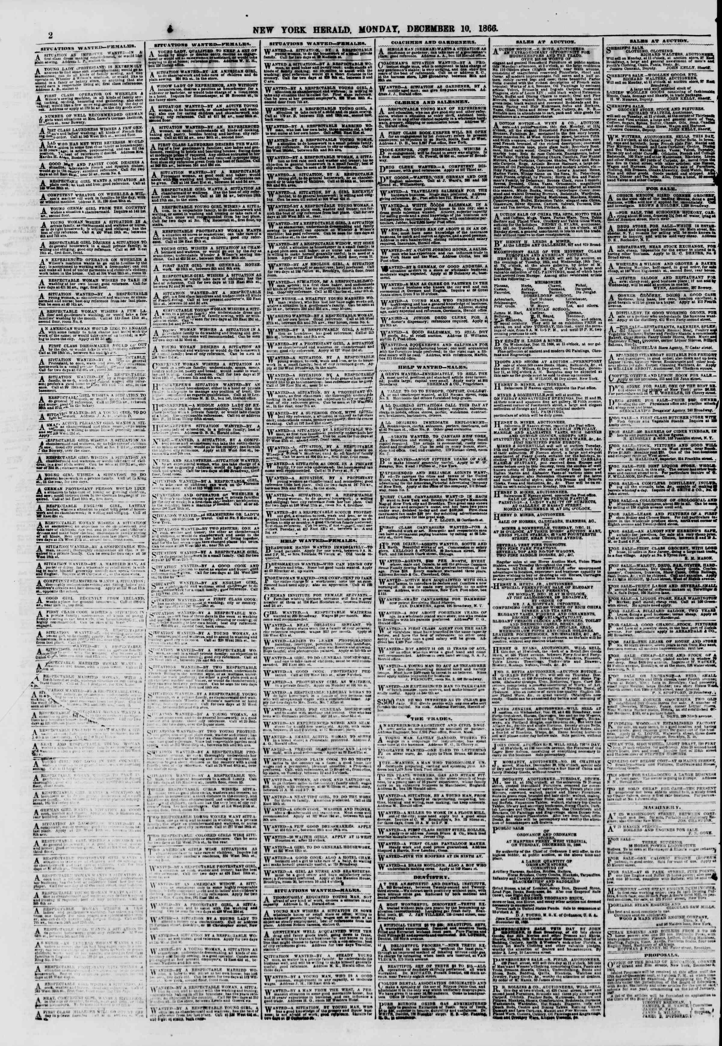Newspaper of The New York Herald dated December 10, 1866 Page 2