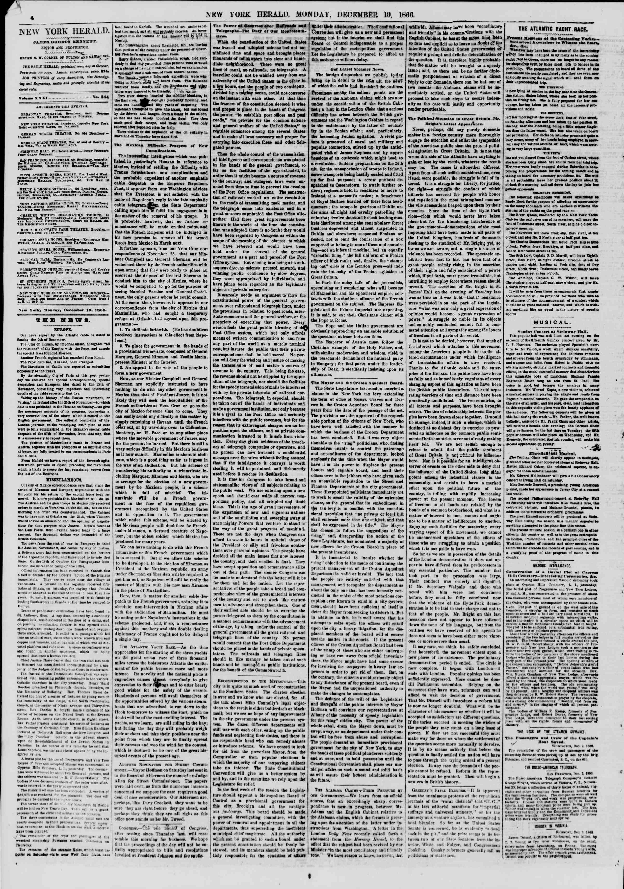 Newspaper of The New York Herald dated December 10, 1866 Page 4