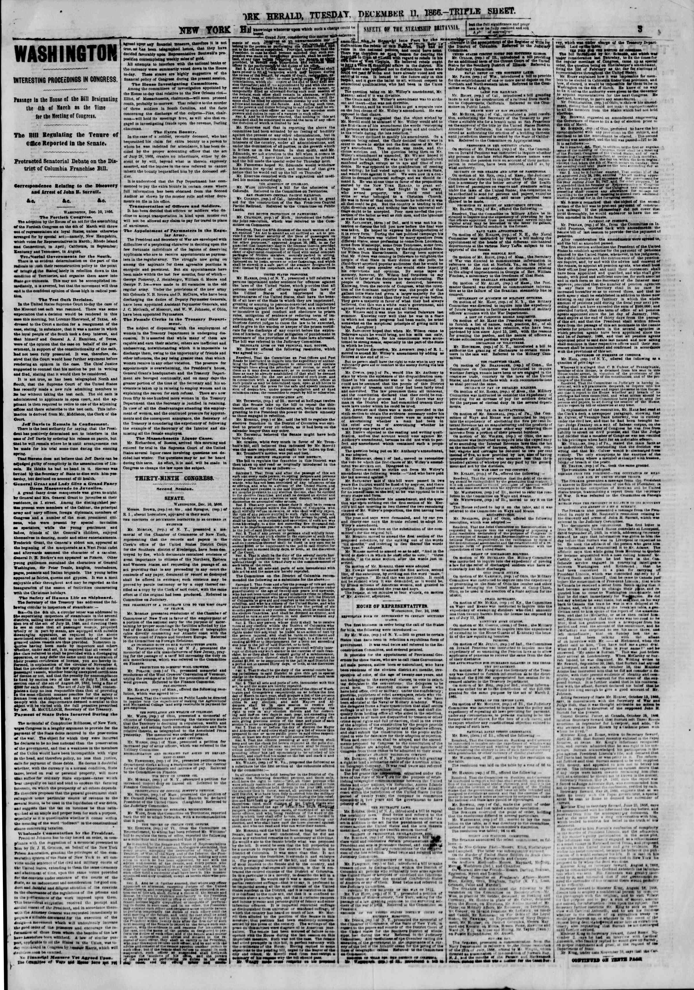 Newspaper of The New York Herald dated December 11, 1866 Page 3