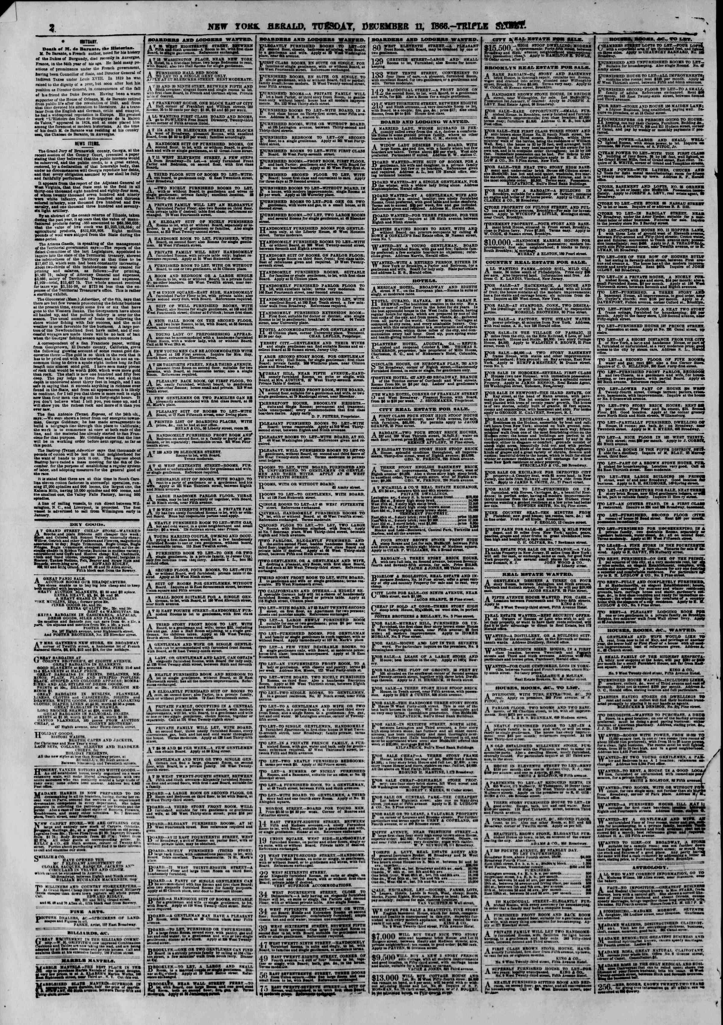 Newspaper of The New York Herald dated December 11, 1866 Page 4