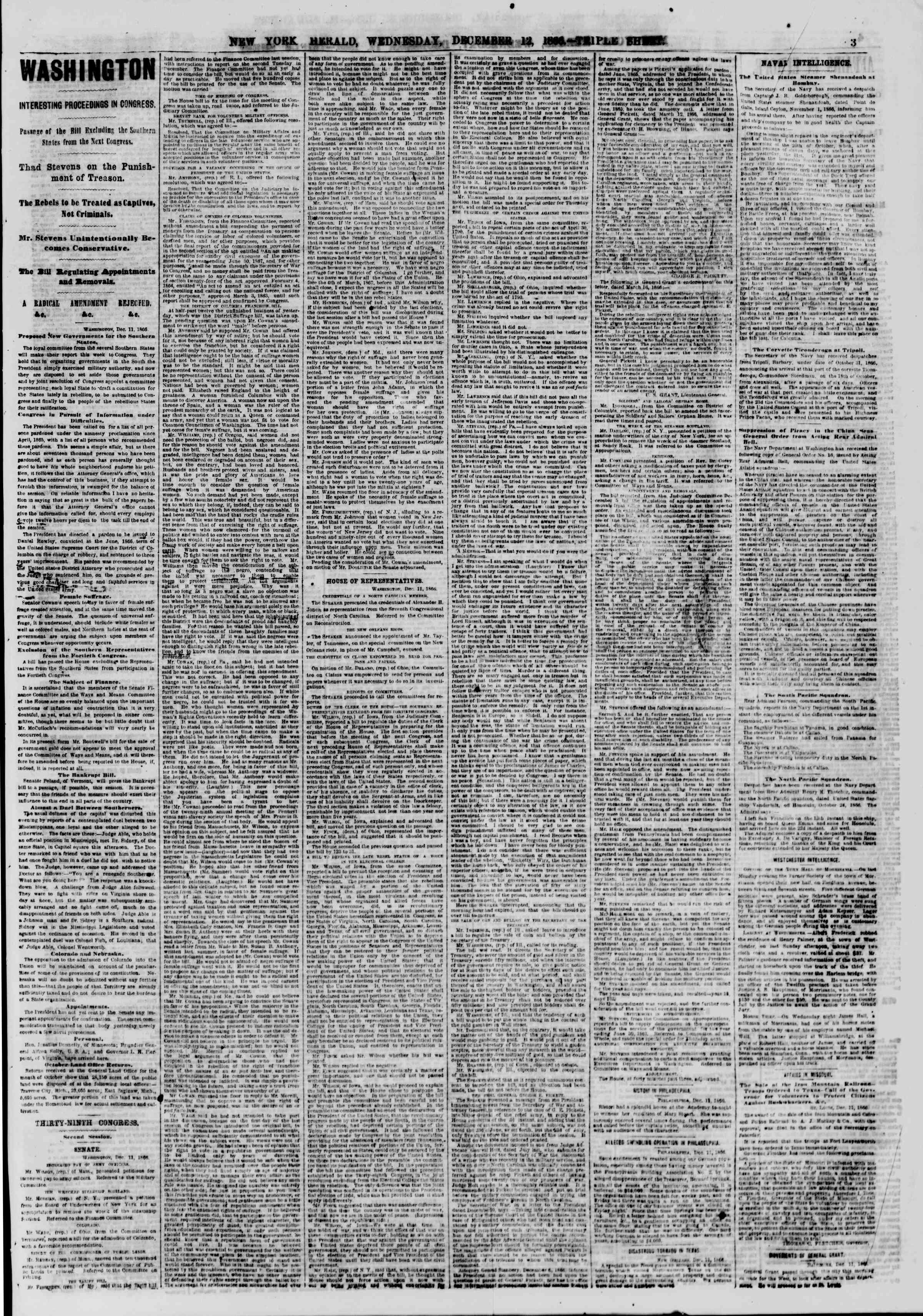 Newspaper of The New York Herald dated December 12, 1866 Page 3
