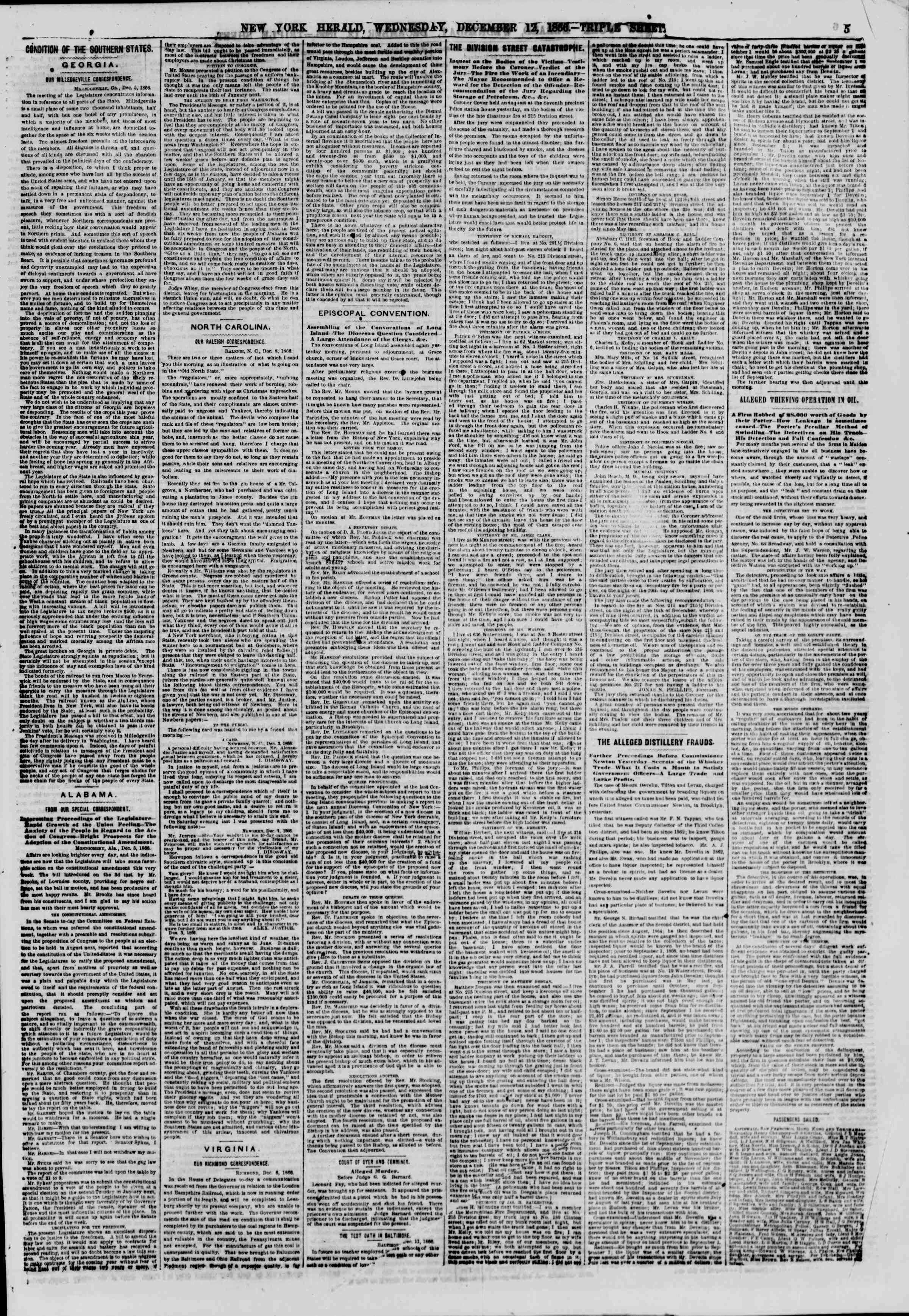 Newspaper of The New York Herald dated December 12, 1866 Page 5