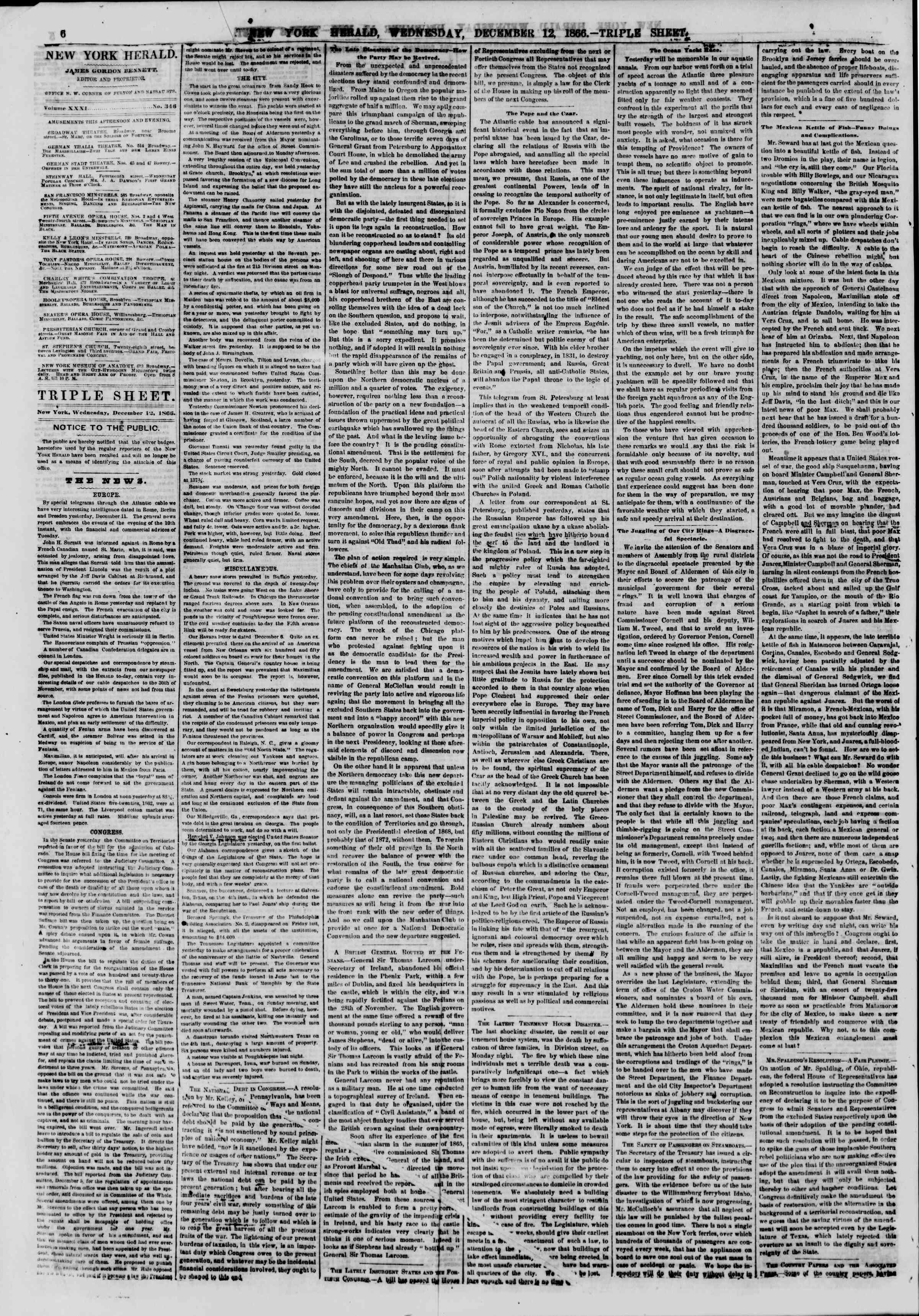 Newspaper of The New York Herald dated December 12, 1866 Page 6