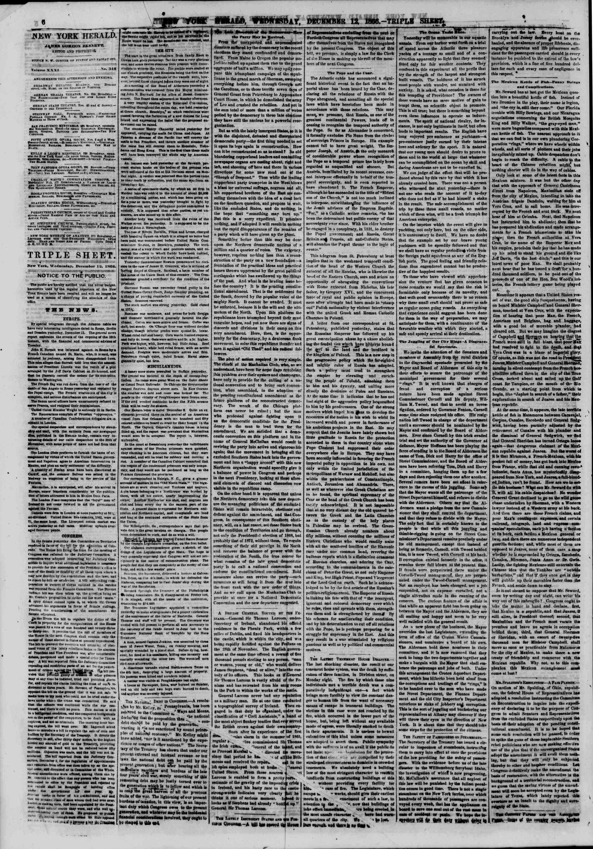 Newspaper of The New York Herald dated December 12, 1866 Page 8