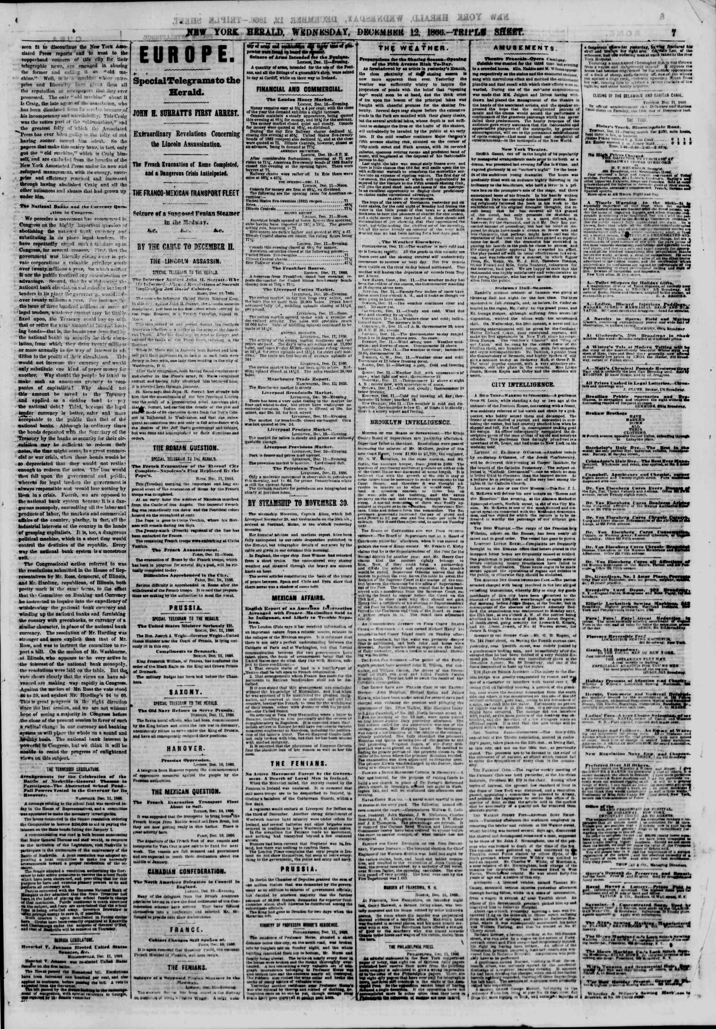 Newspaper of The New York Herald dated December 12, 1866 Page 9