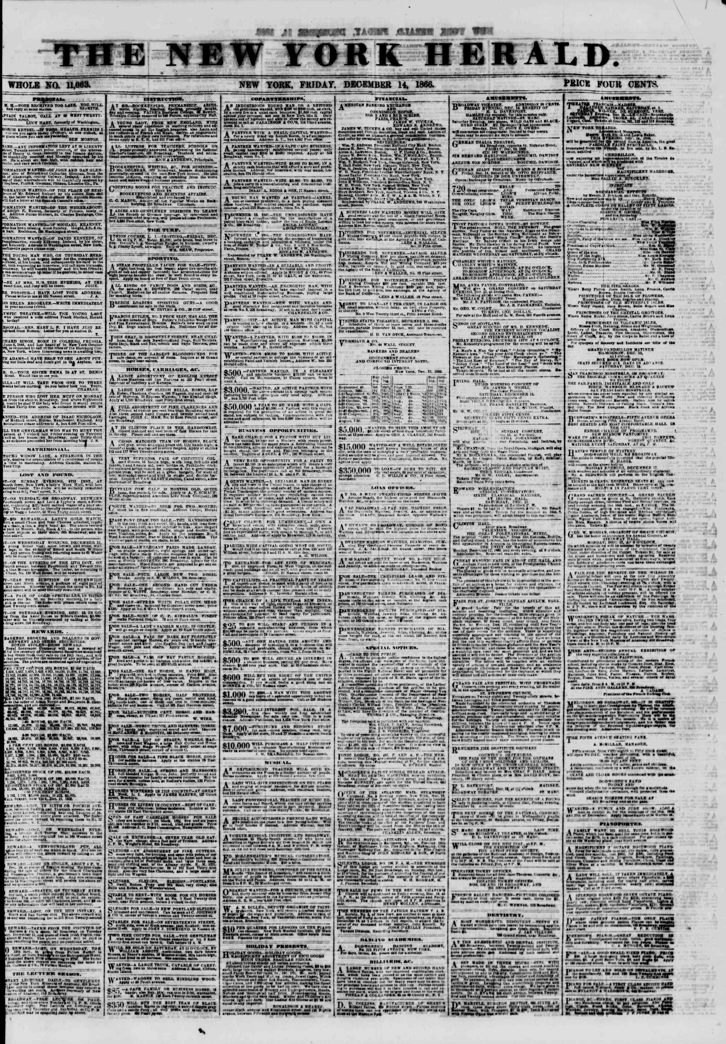 Newspaper of The New York Herald dated 14 Aralık 1866 Page 1