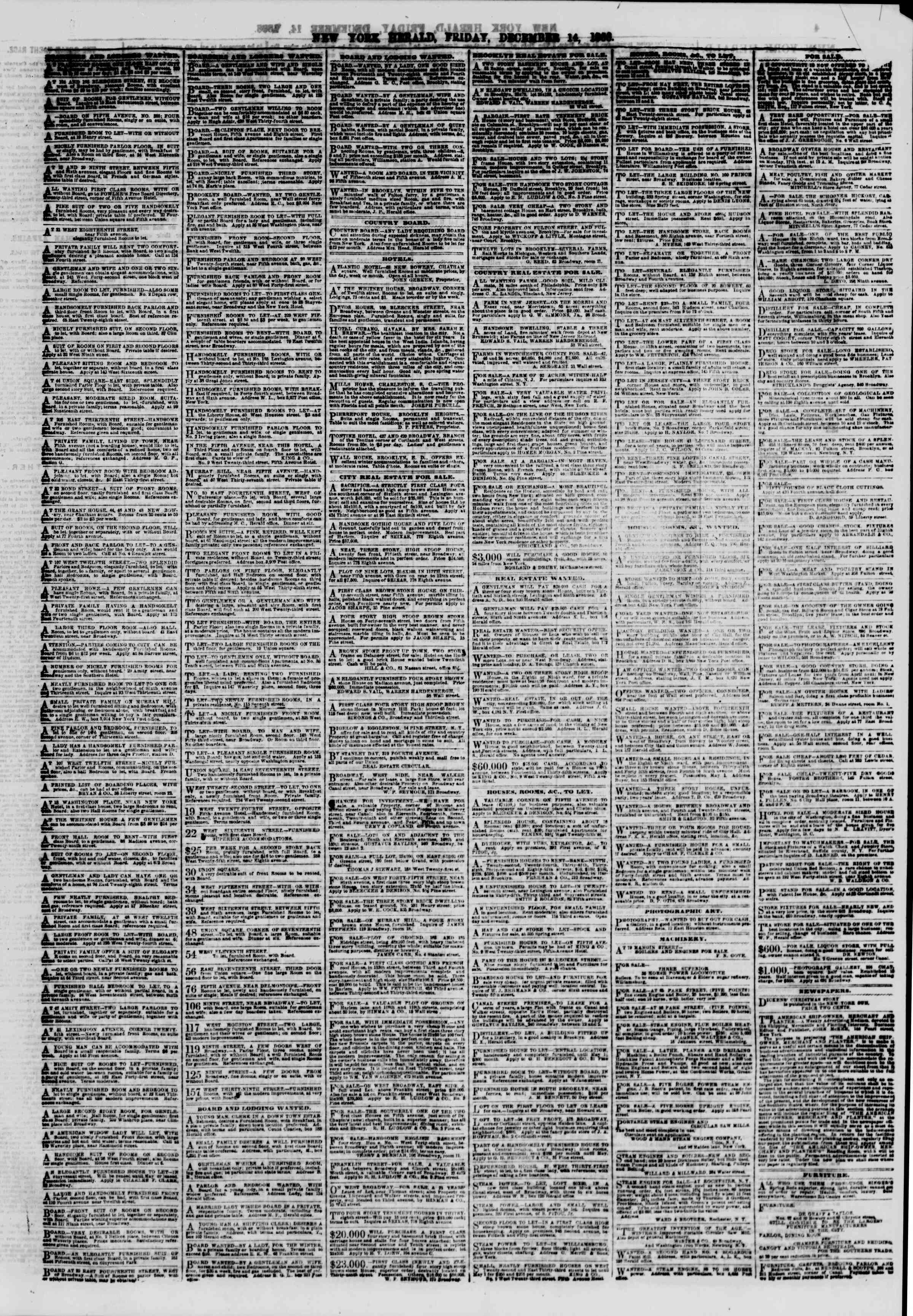 Newspaper of The New York Herald dated December 14, 1866 Page 3