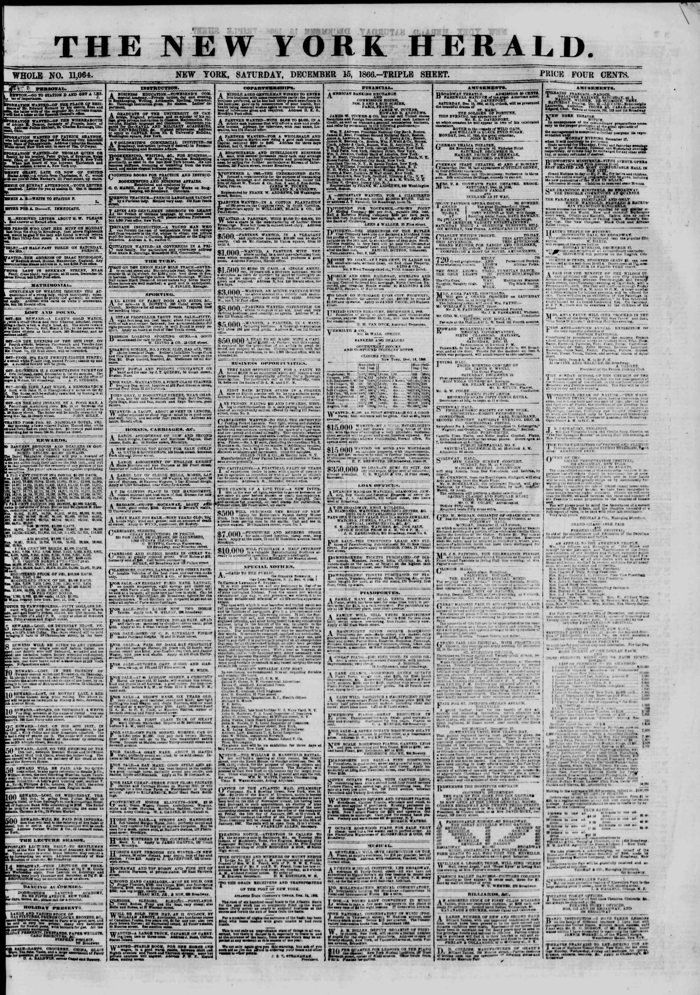 Newspaper of The New York Herald dated December 15, 1866 Page 1