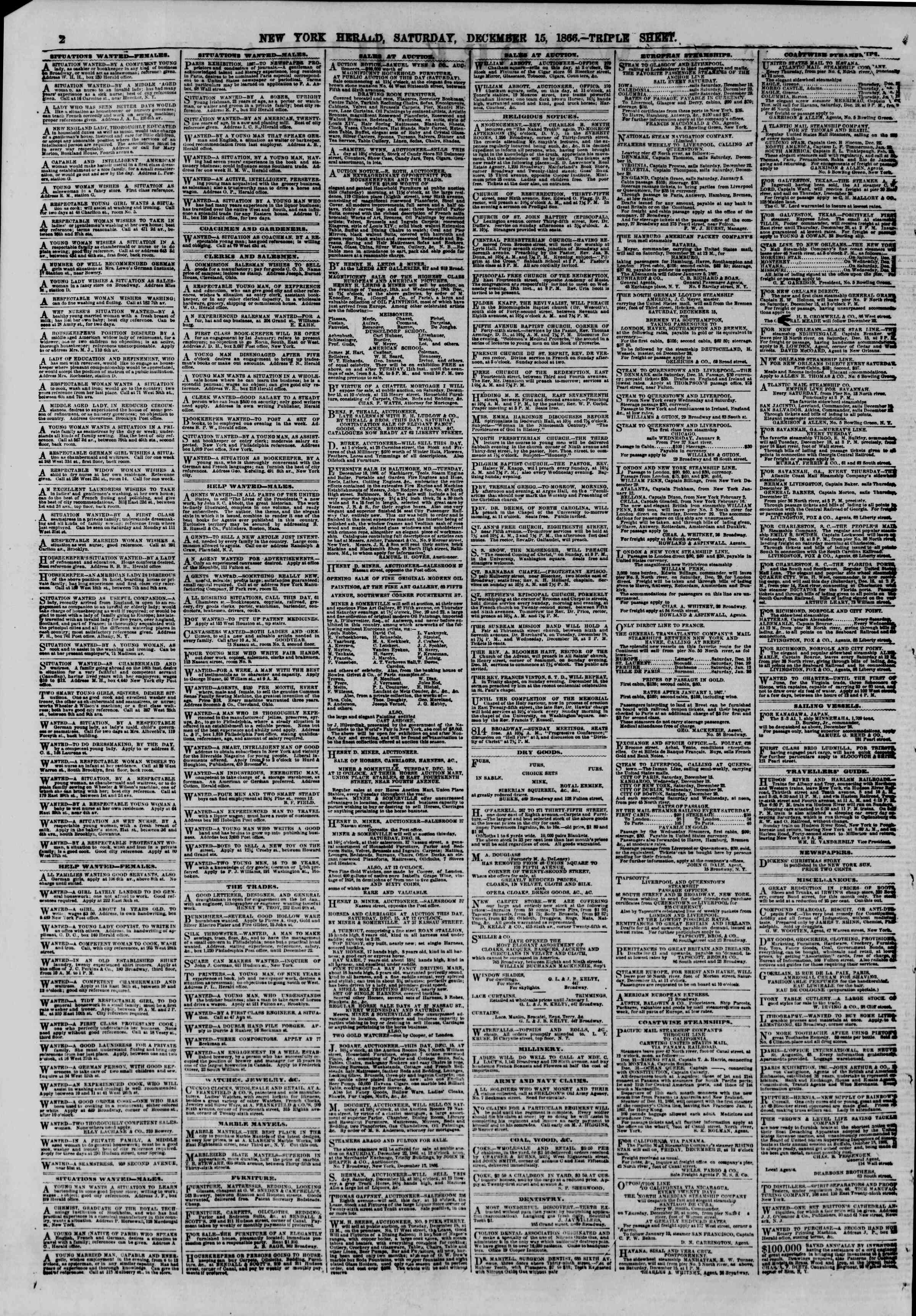 Newspaper of The New York Herald dated December 15, 1866 Page 2
