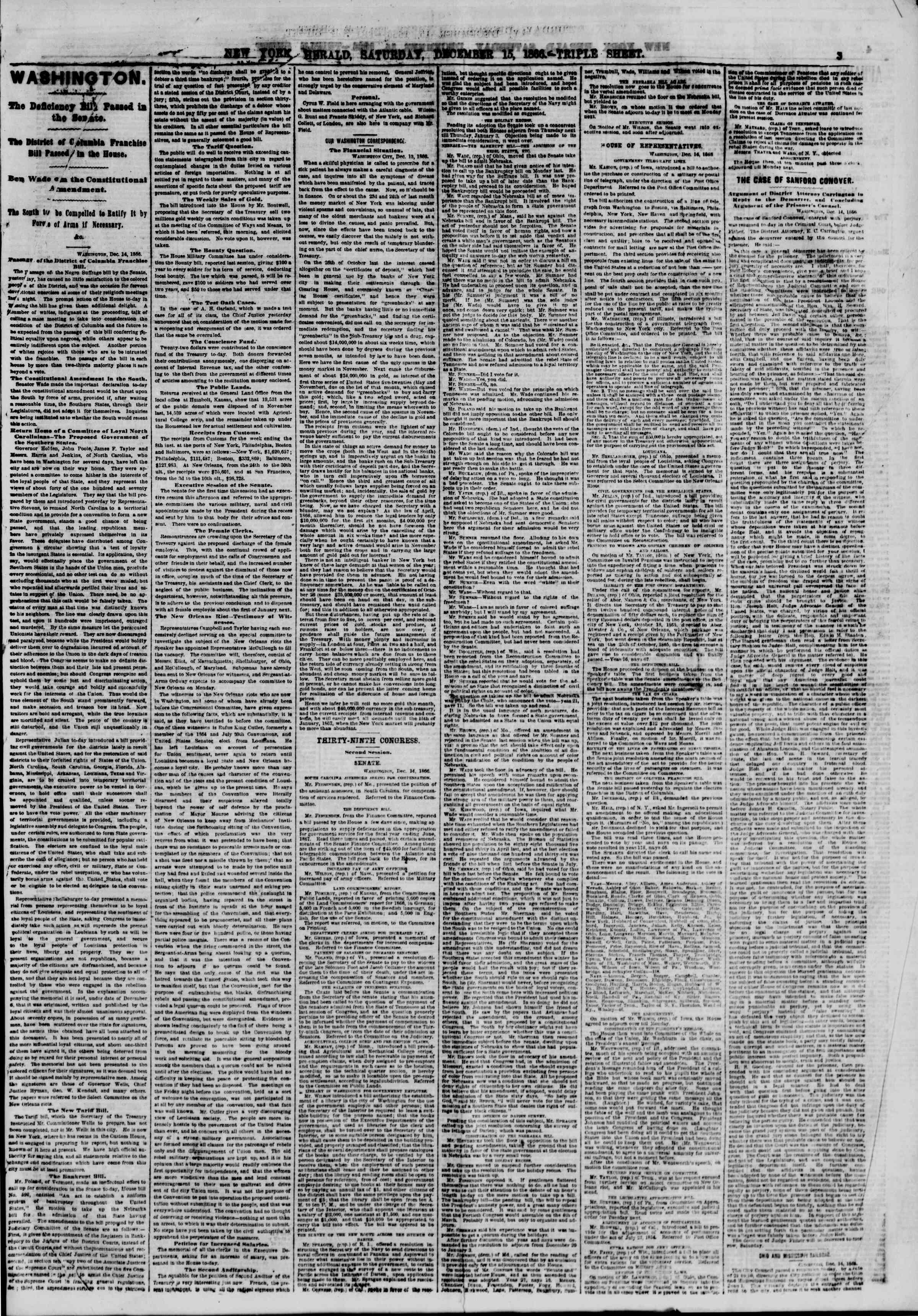 Newspaper of The New York Herald dated December 15, 1866 Page 3