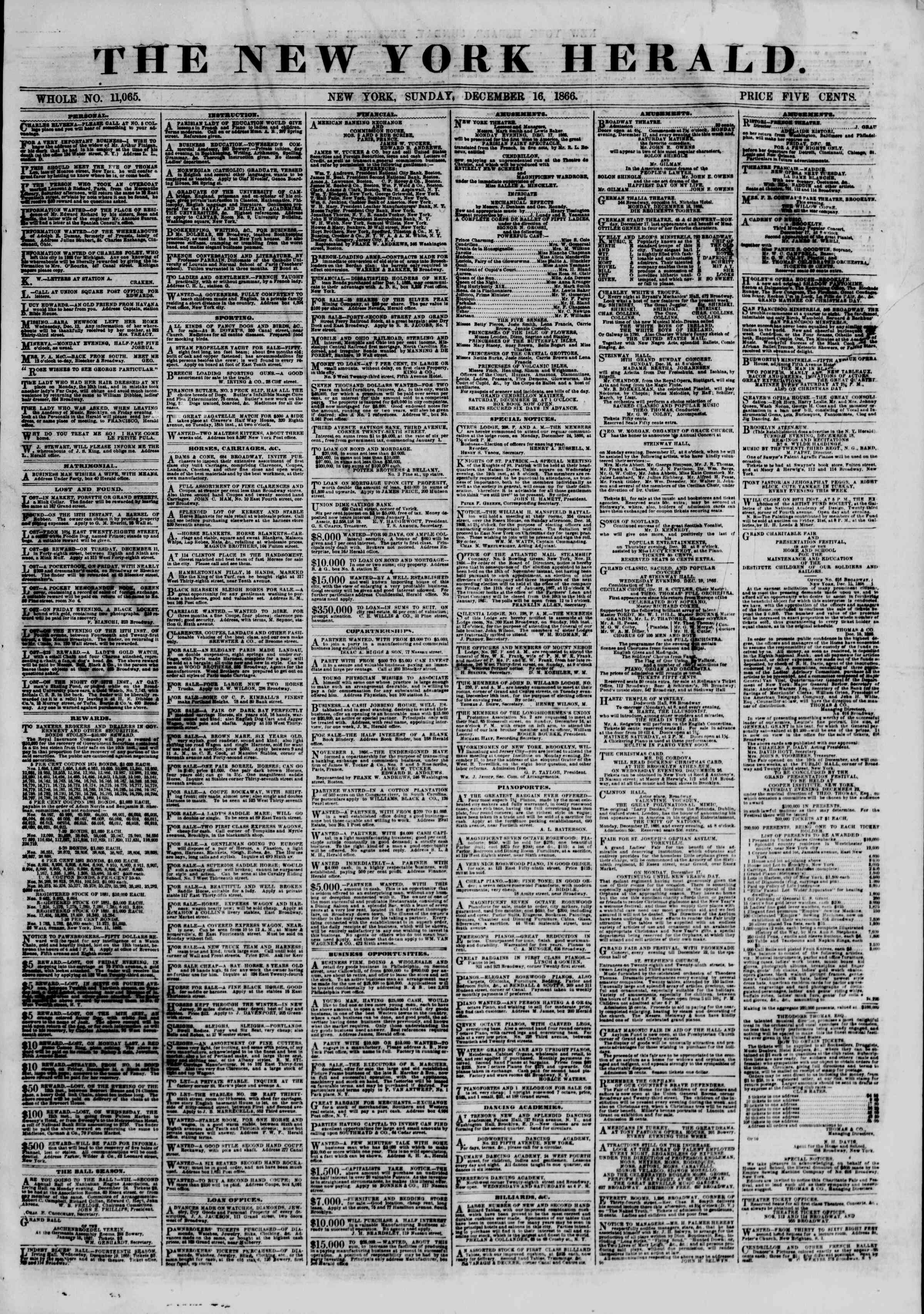 Newspaper of The New York Herald dated December 16, 1866 Page 1