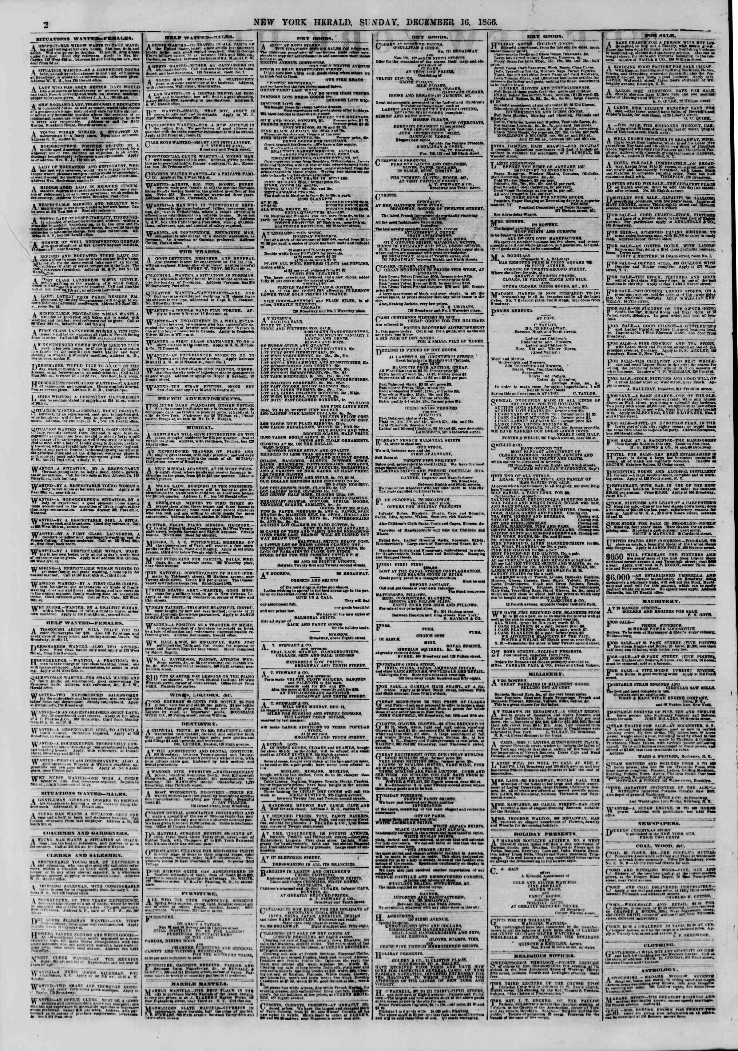 Newspaper of The New York Herald dated December 16, 1866 Page 2