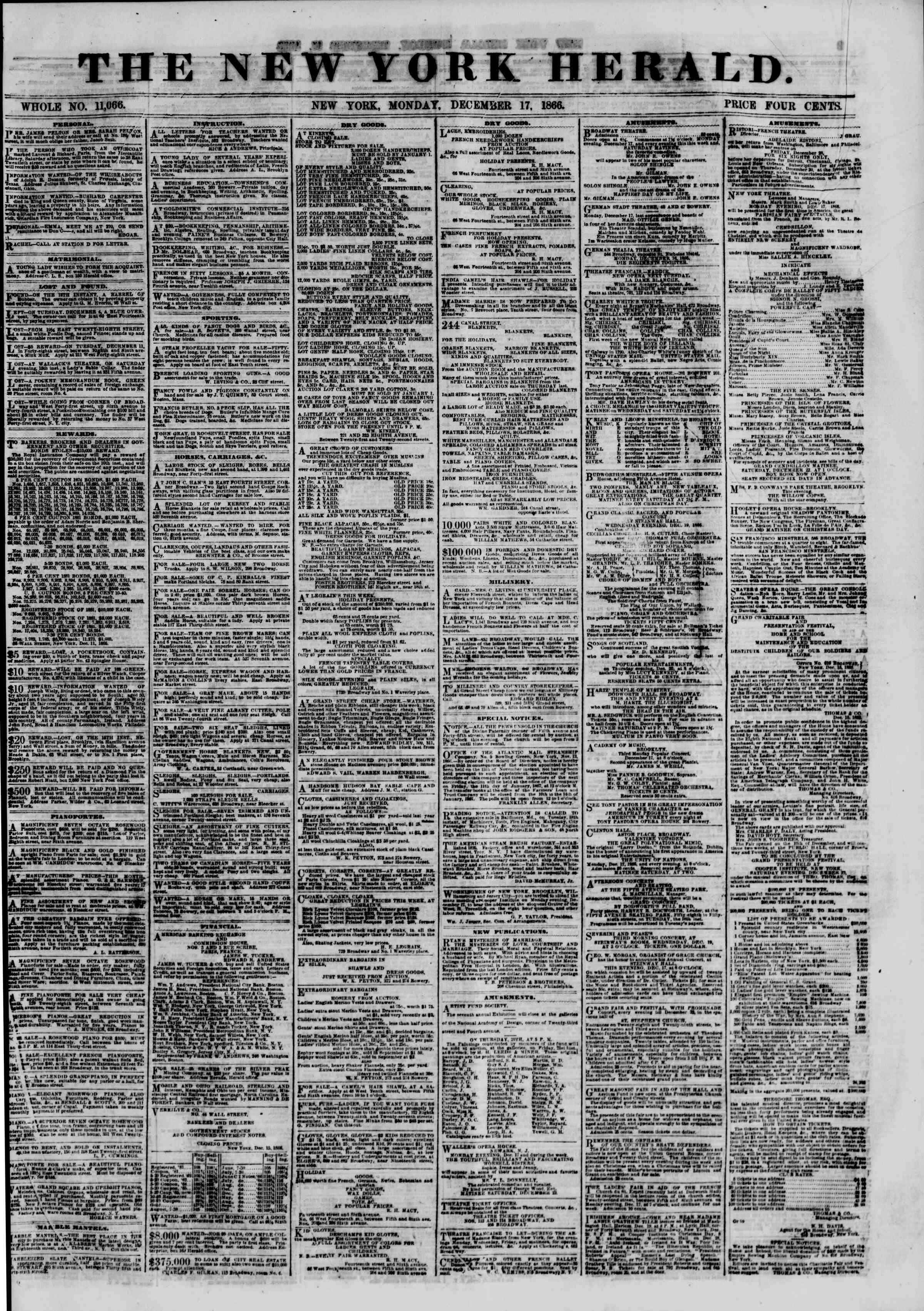 Newspaper of The New York Herald dated 17 Aralık 1866 Page 1