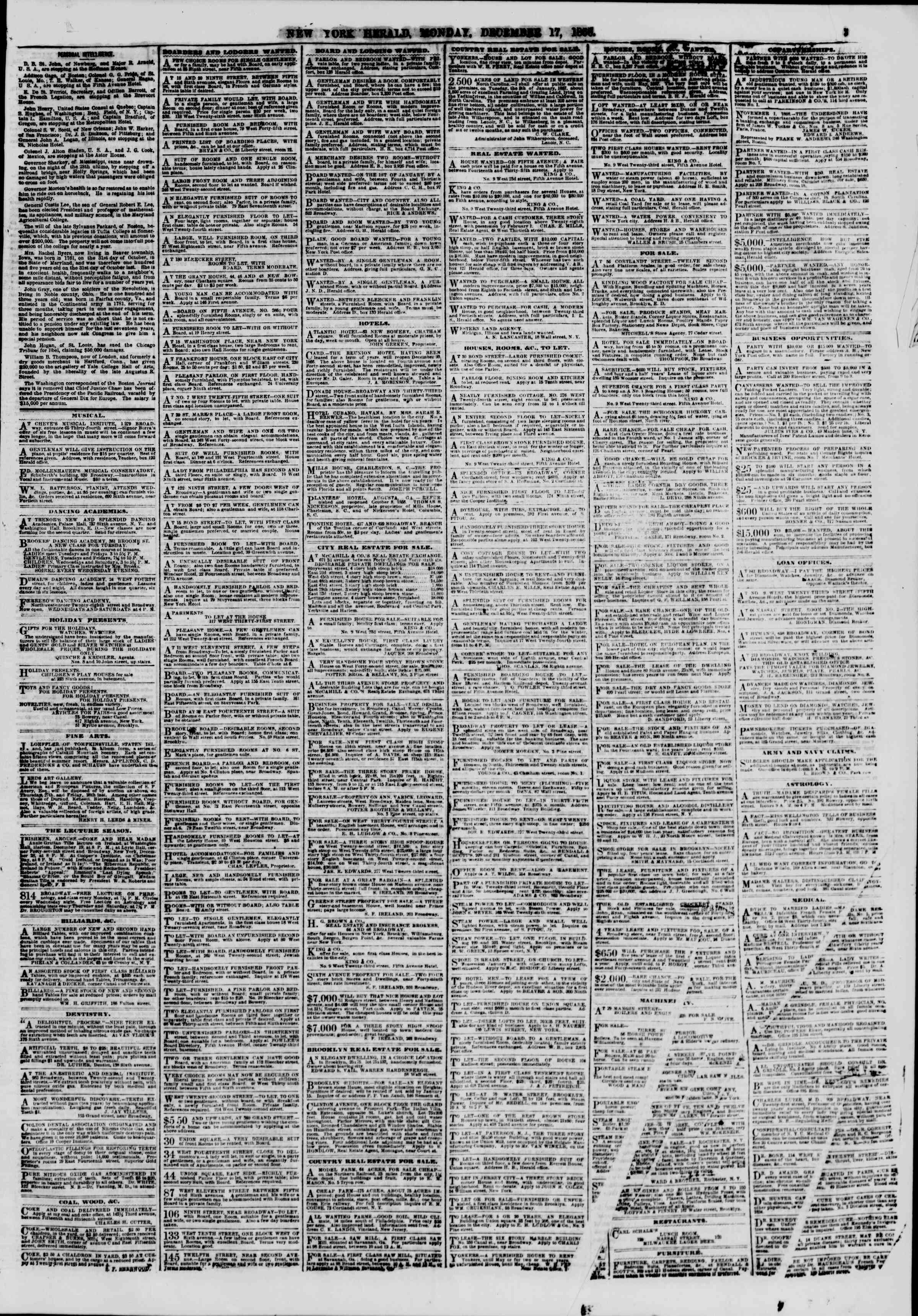 Newspaper of The New York Herald dated December 17, 1866 Page 3