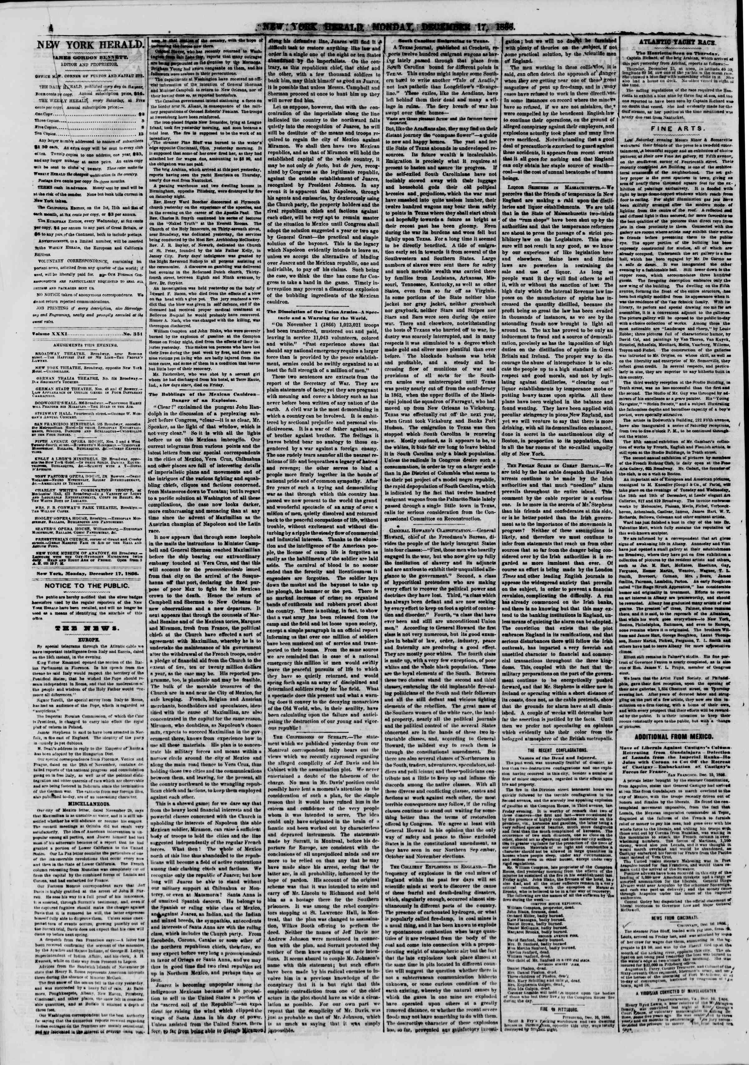 Newspaper of The New York Herald dated December 17, 1866 Page 4