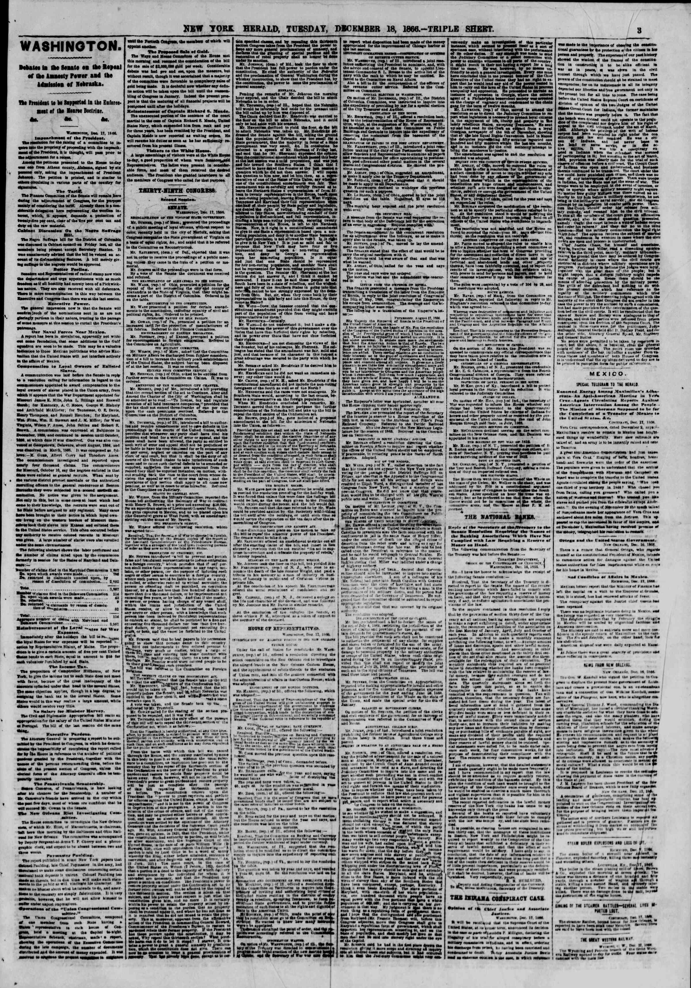 Newspaper of The New York Herald dated December 18, 1866 Page 3