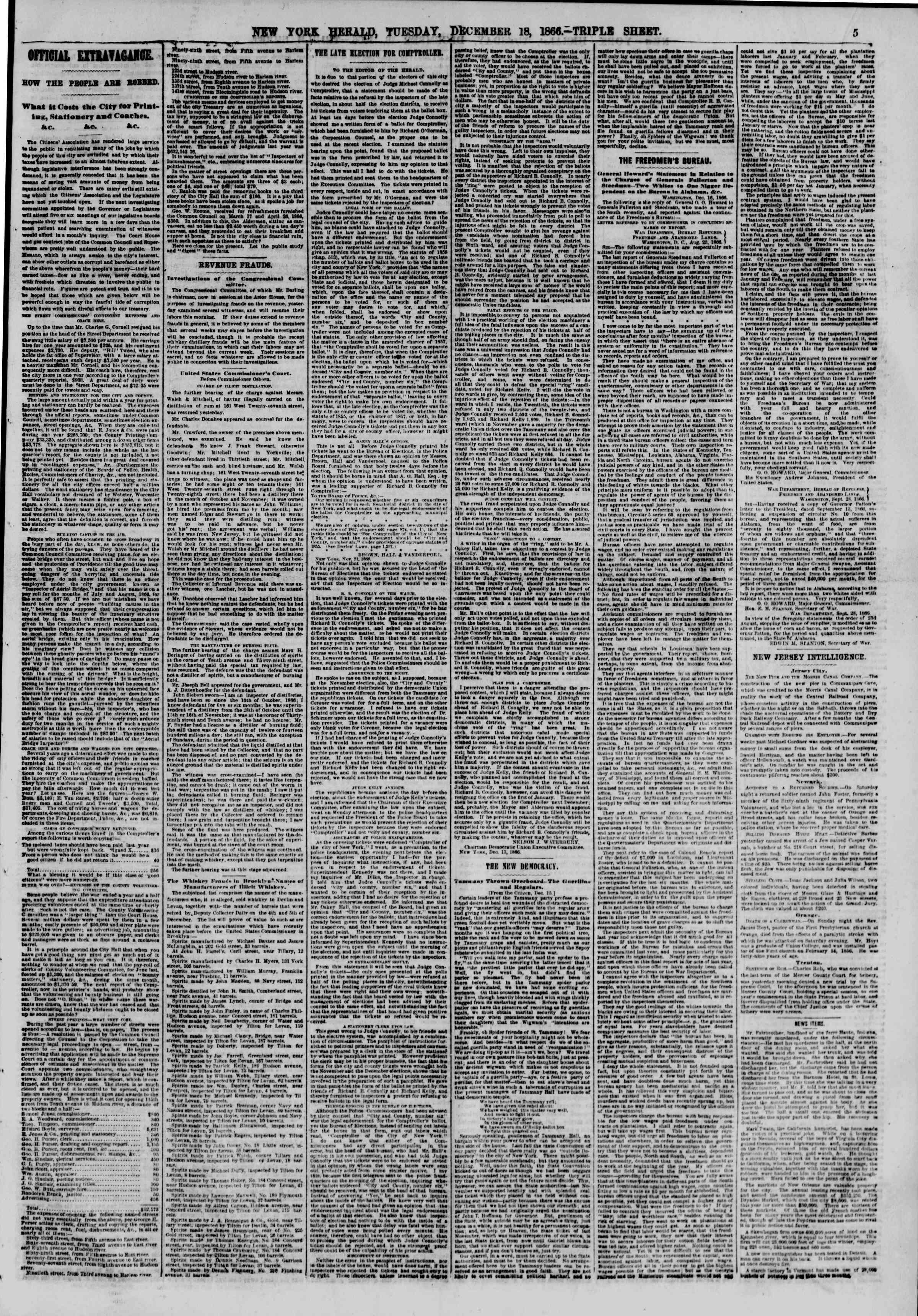 Newspaper of The New York Herald dated December 18, 1866 Page 5
