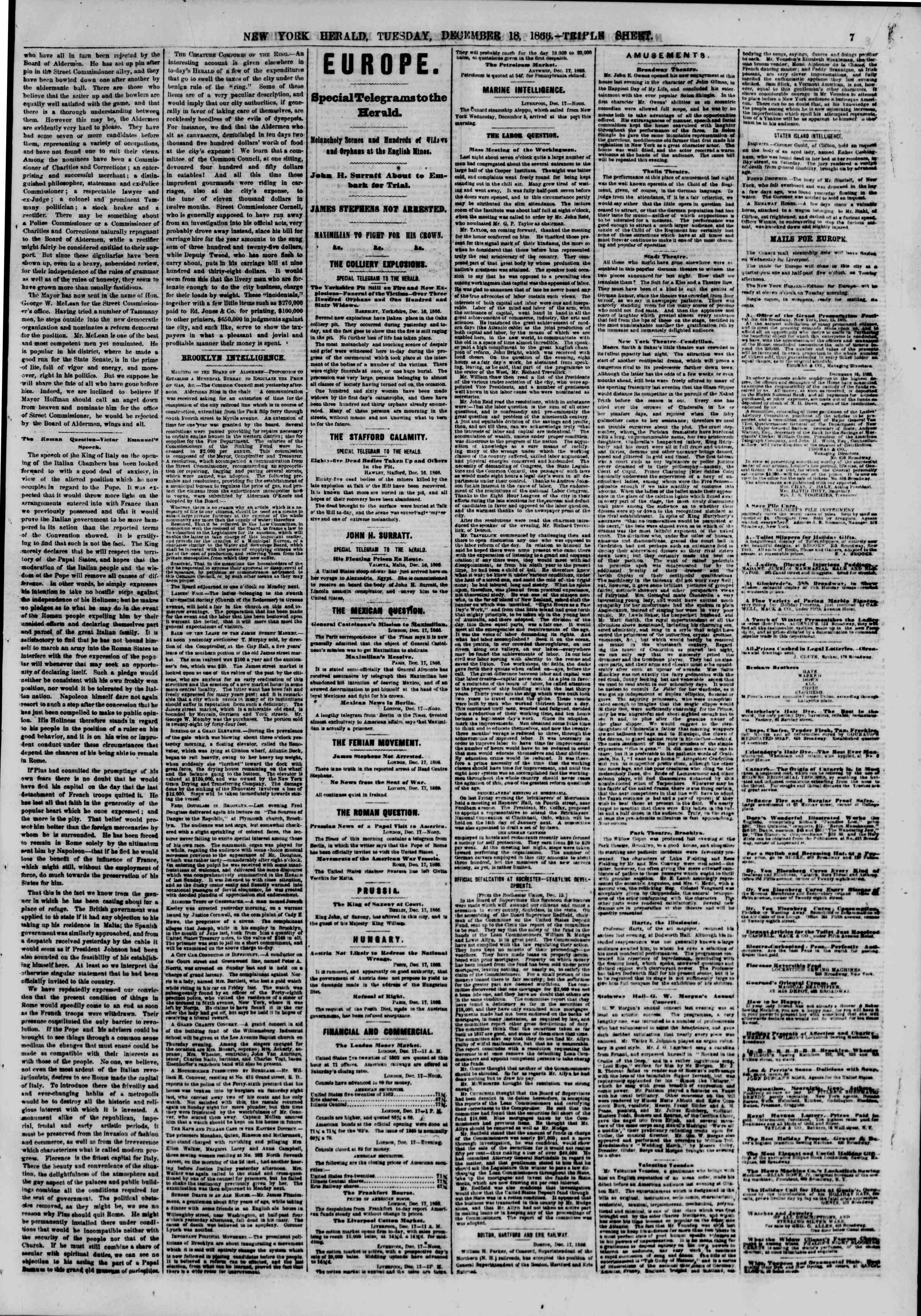 Newspaper of The New York Herald dated December 18, 1866 Page 7