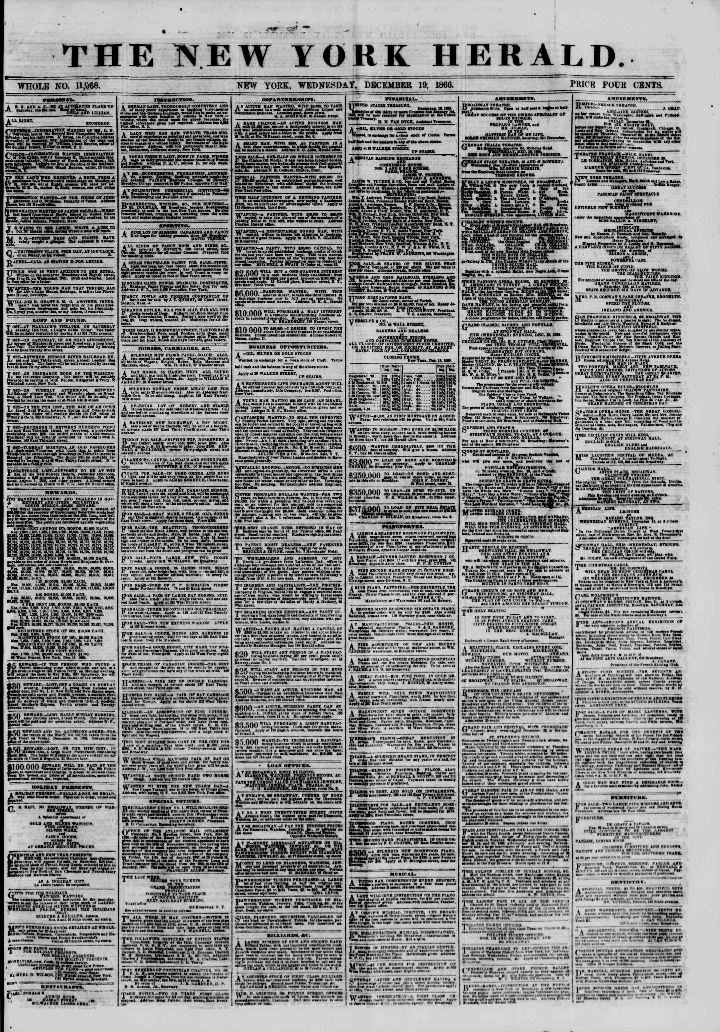 Newspaper of The New York Herald dated December 19, 1866 Page 1