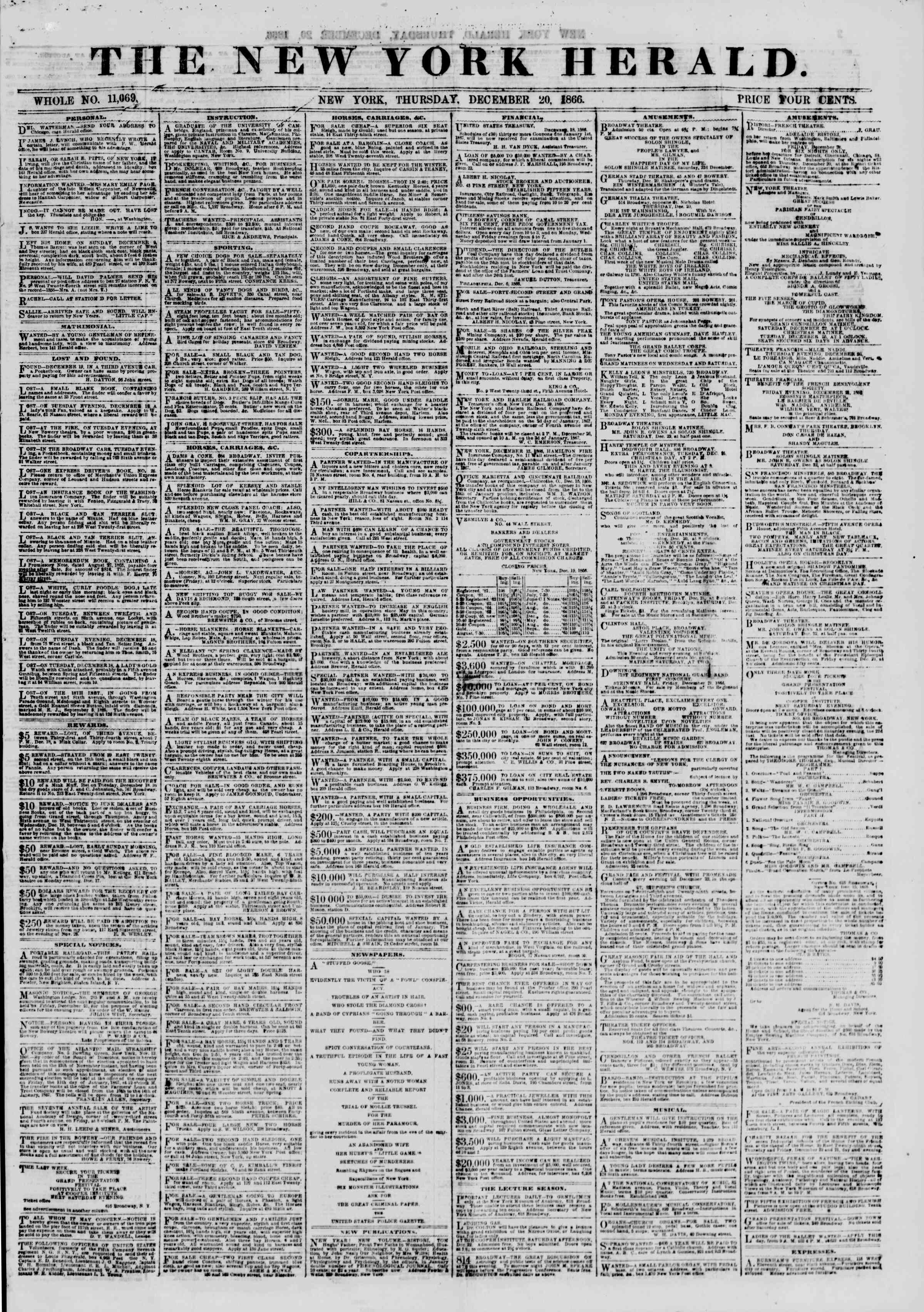 Newspaper of The New York Herald dated December 20, 1866 Page 1