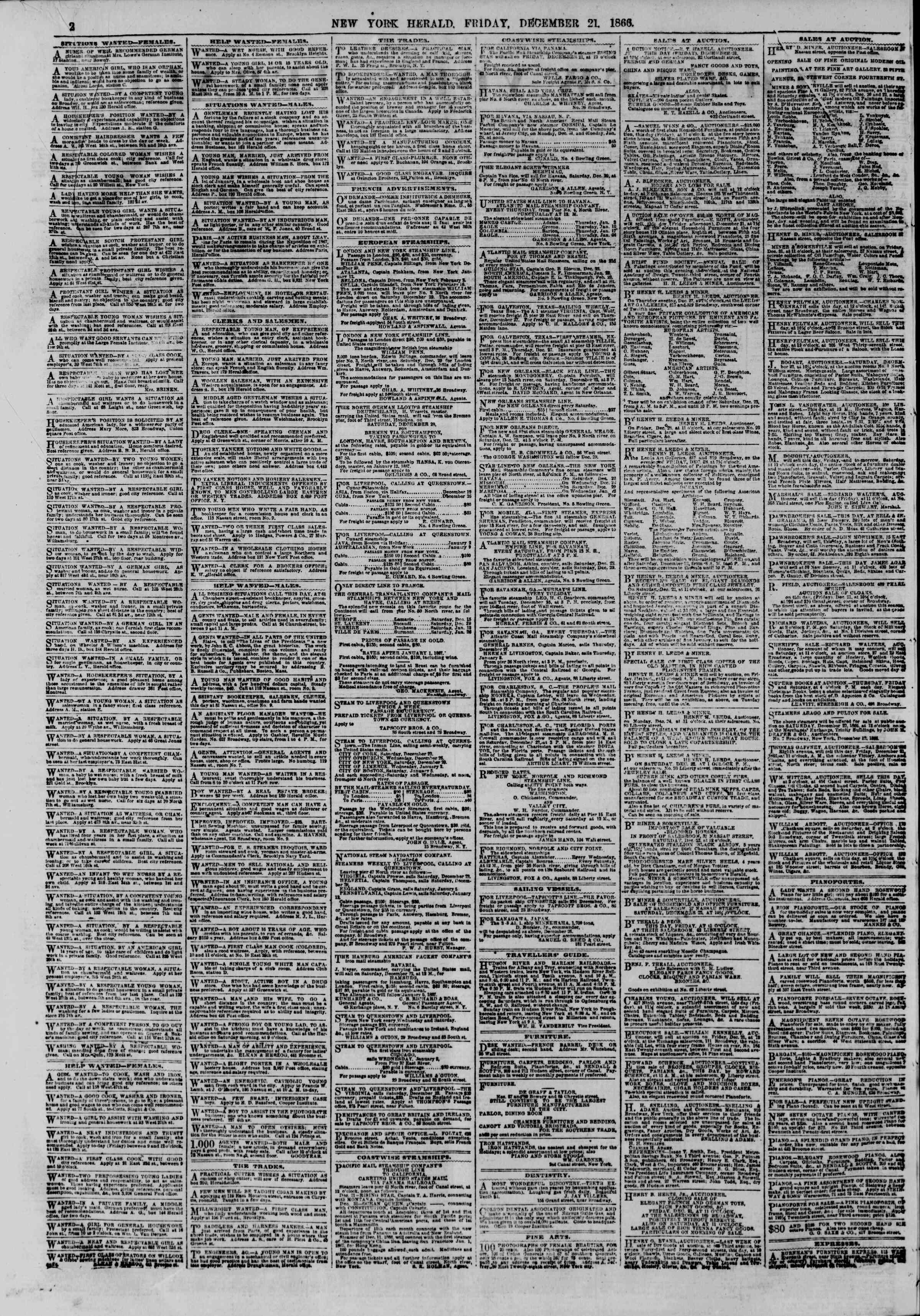 Newspaper of The New York Herald dated 21 Aralık 1866 Page 2