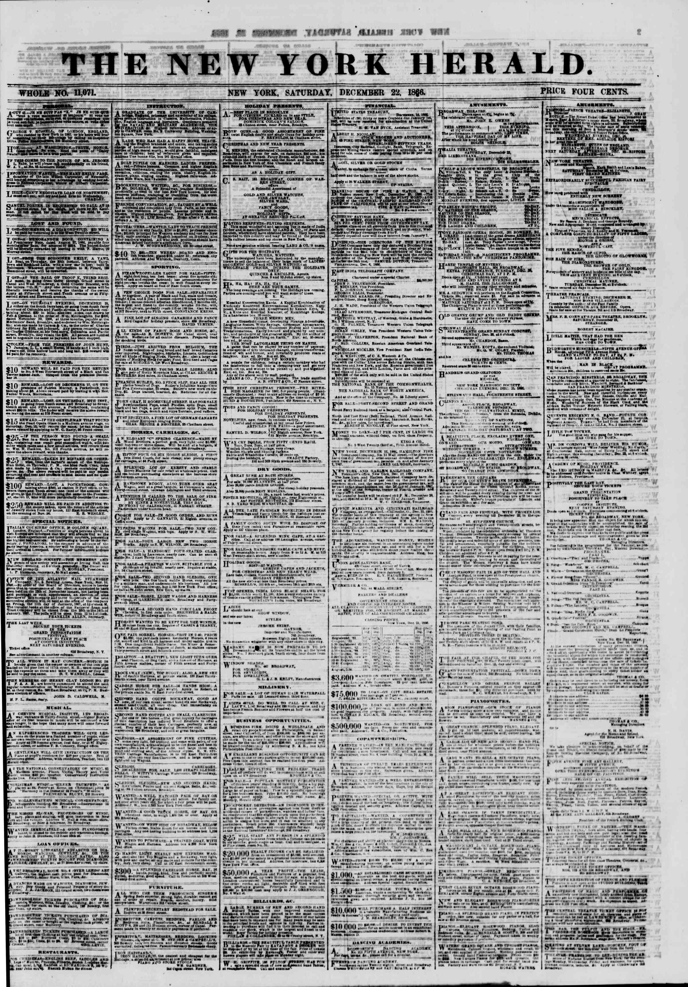 Newspaper of The New York Herald dated December 22, 1866 Page 1