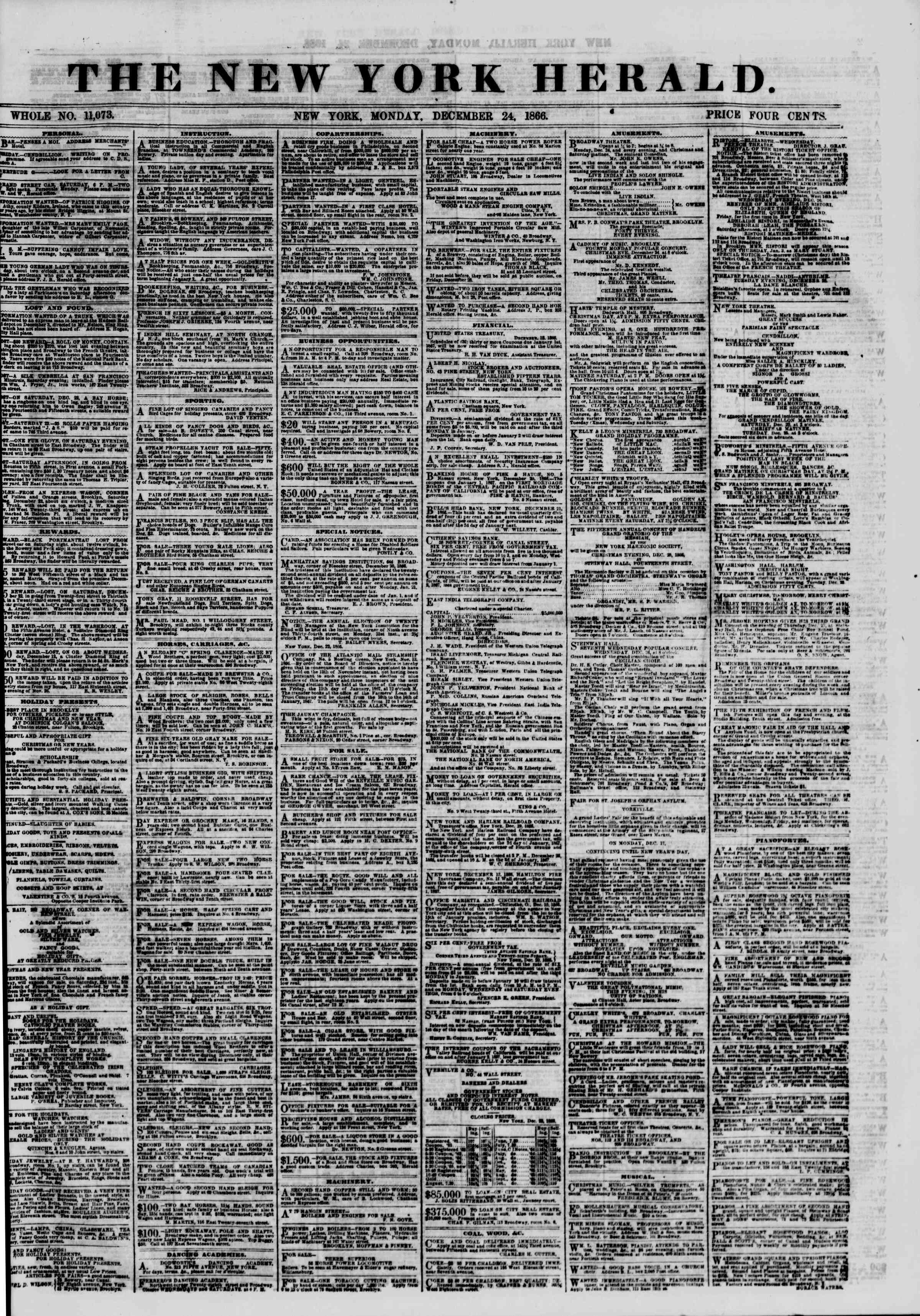 Newspaper of The New York Herald dated December 24, 1866 Page 1