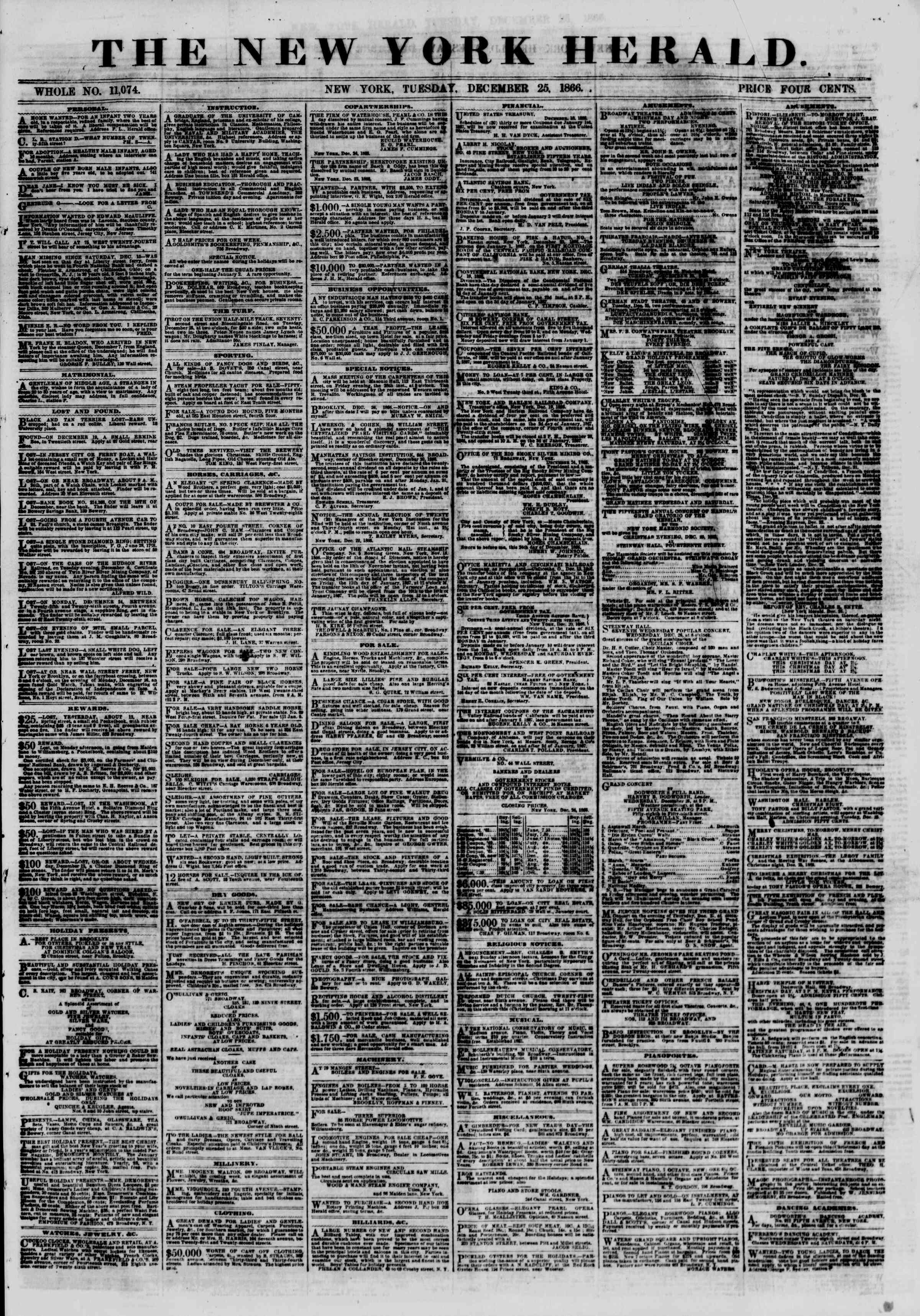 Newspaper of The New York Herald dated December 25, 1866 Page 1