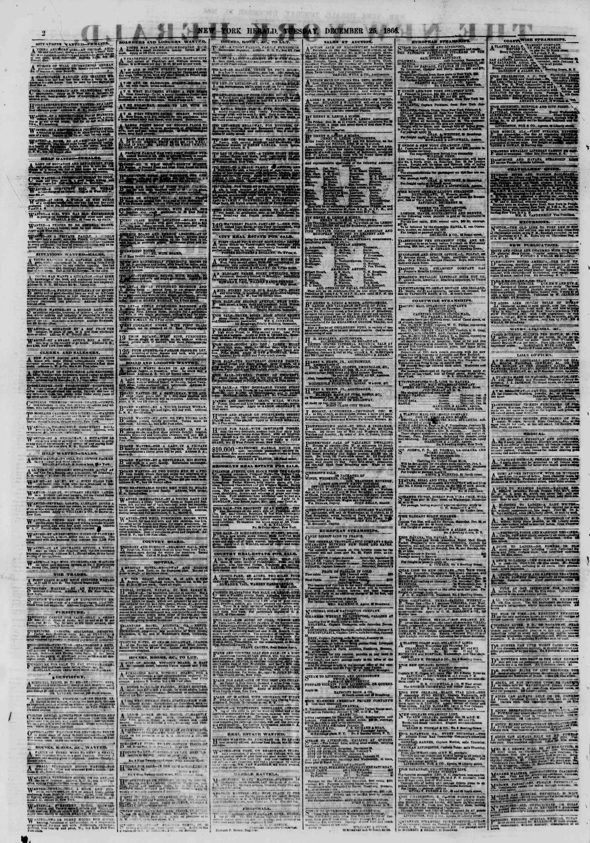 Newspaper of The New York Herald dated December 25, 1866 Page 2
