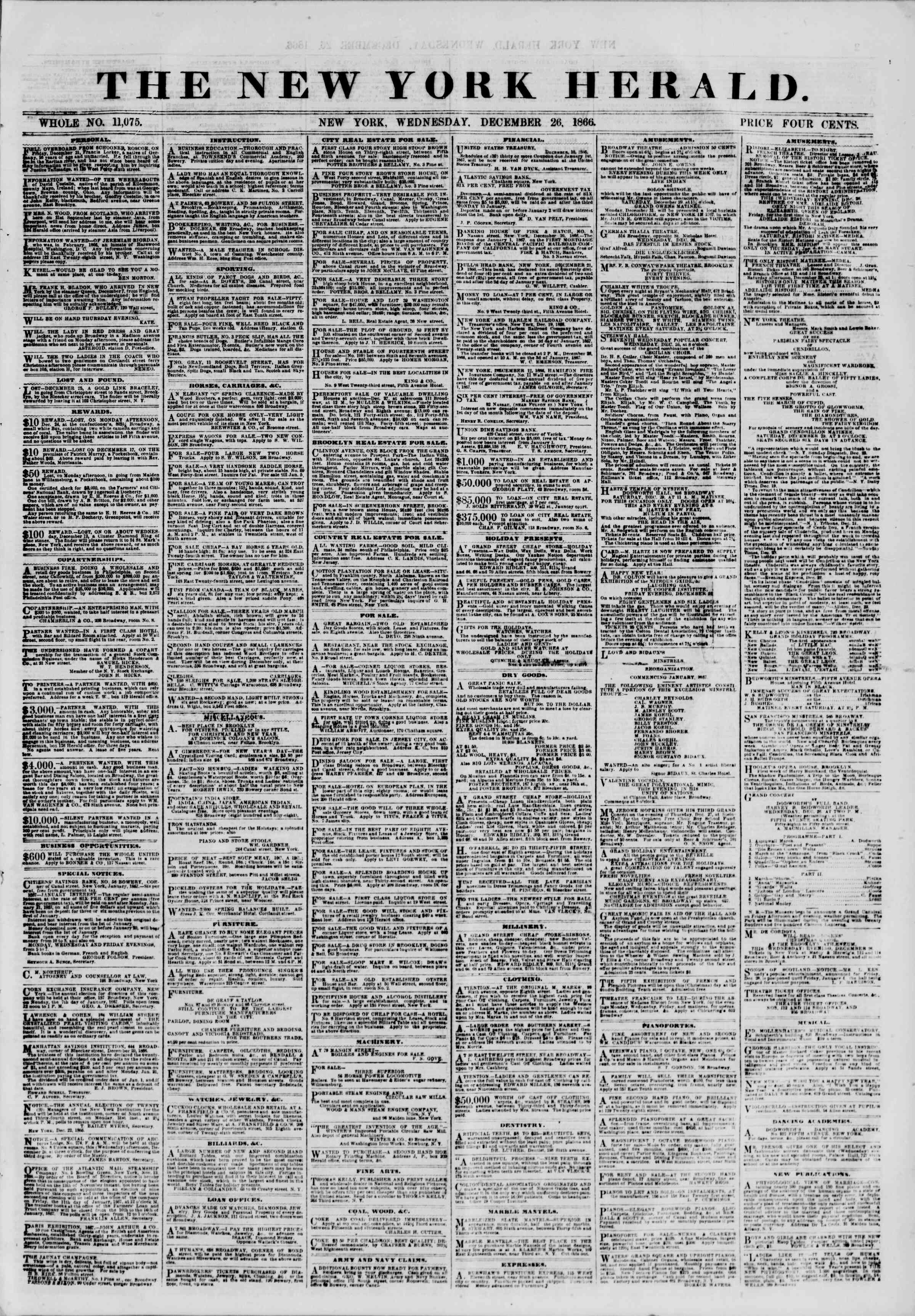 Newspaper of The New York Herald dated December 26, 1866 Page 1