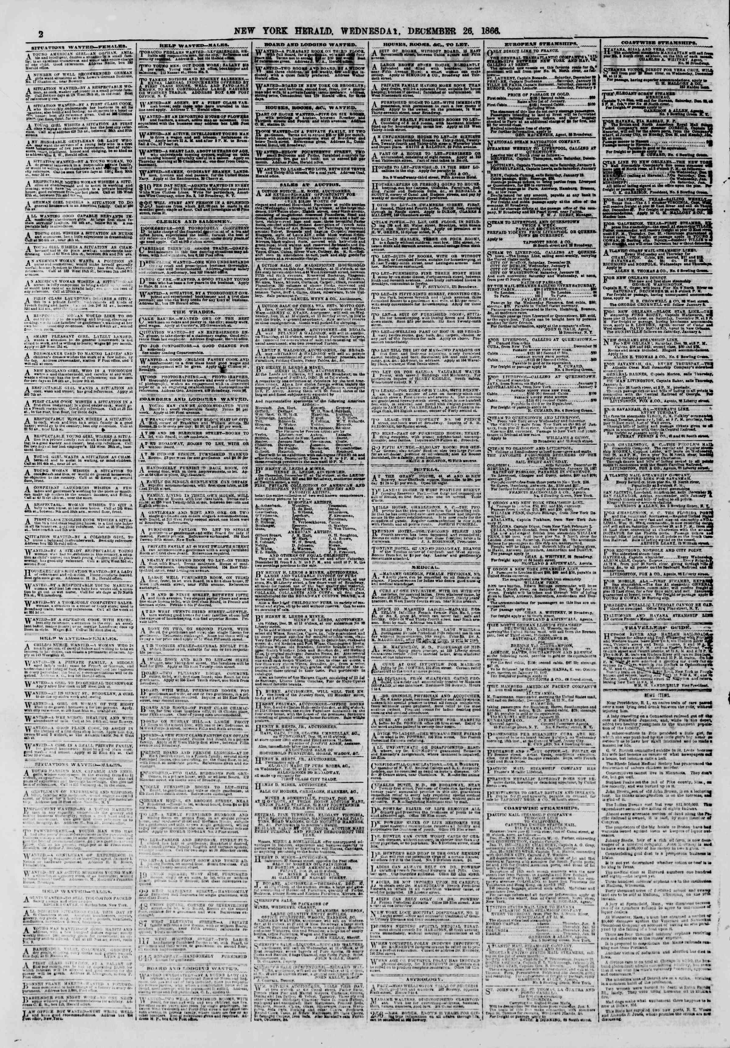 Newspaper of The New York Herald dated December 26, 1866 Page 2