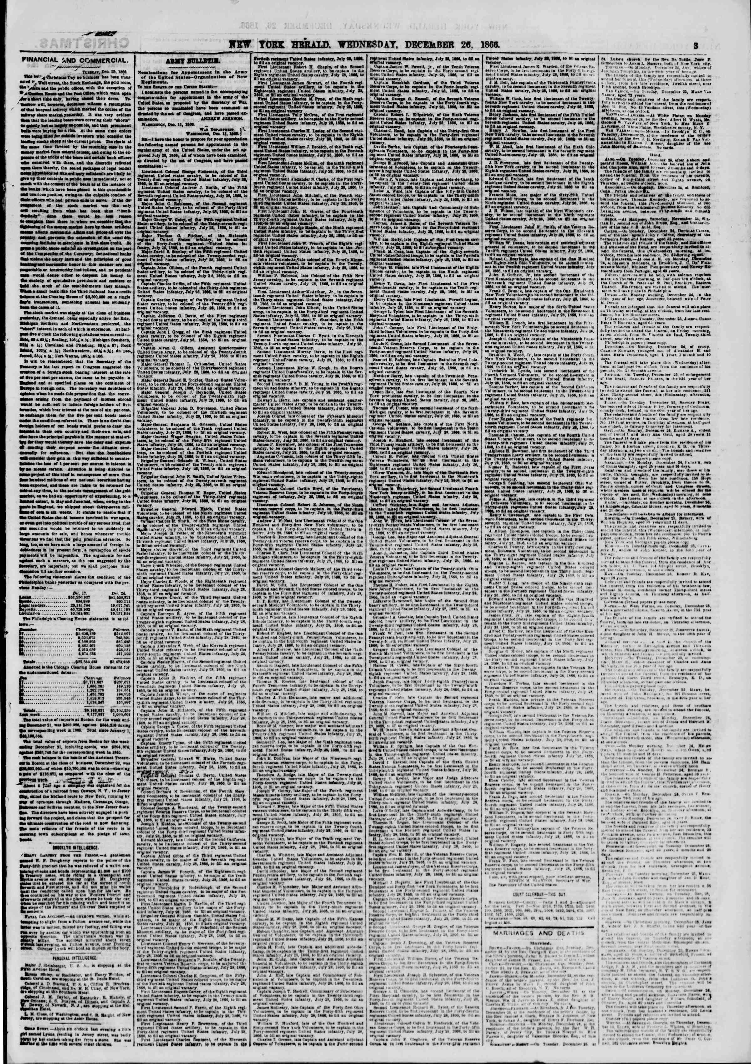 Newspaper of The New York Herald dated December 26, 1866 Page 3