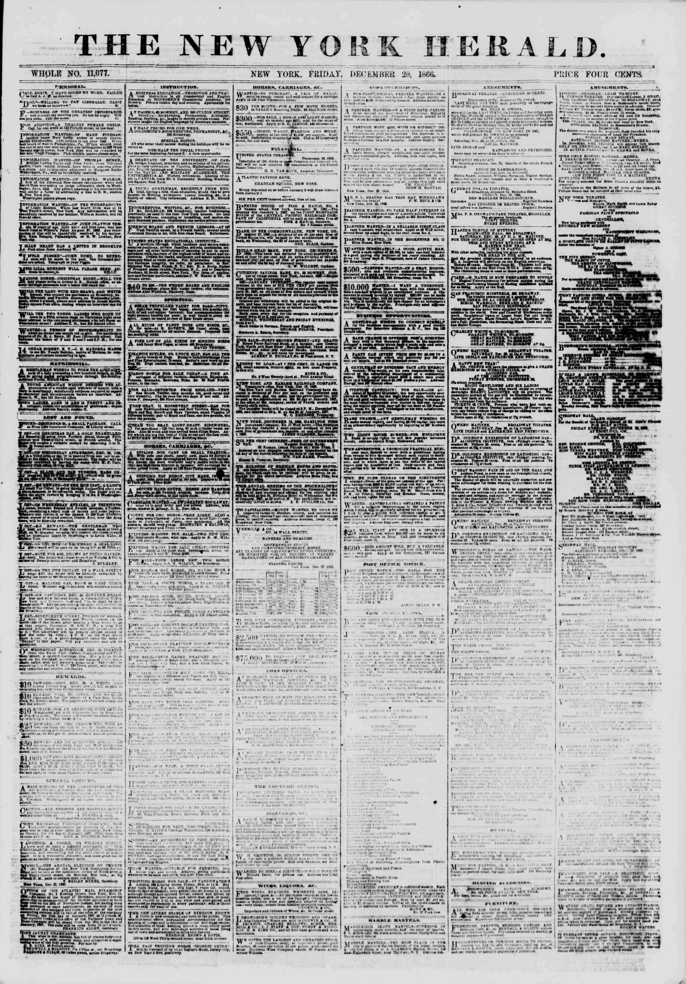 Newspaper of The New York Herald dated December 28, 1866 Page 1