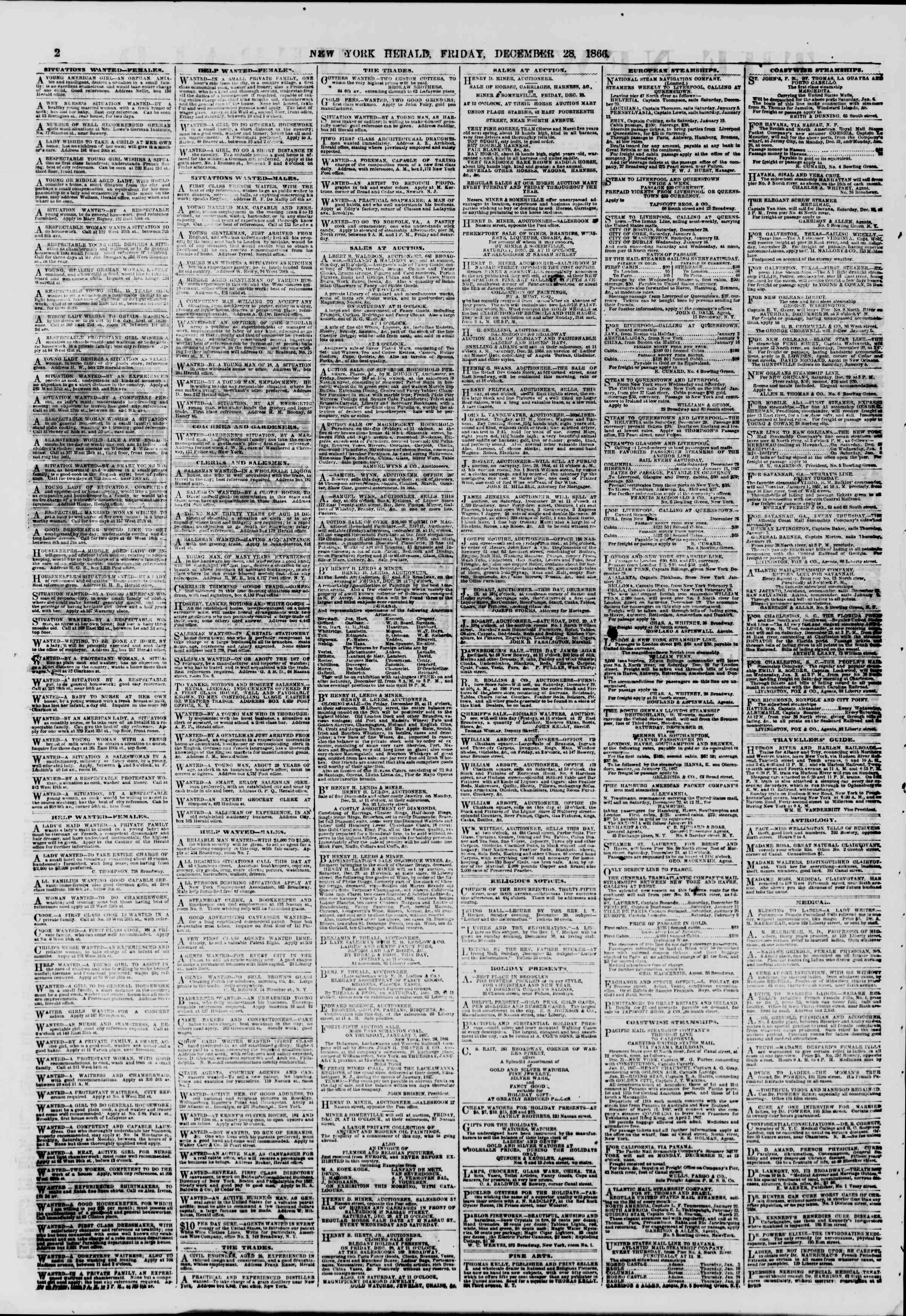 Newspaper of The New York Herald dated December 28, 1866 Page 2