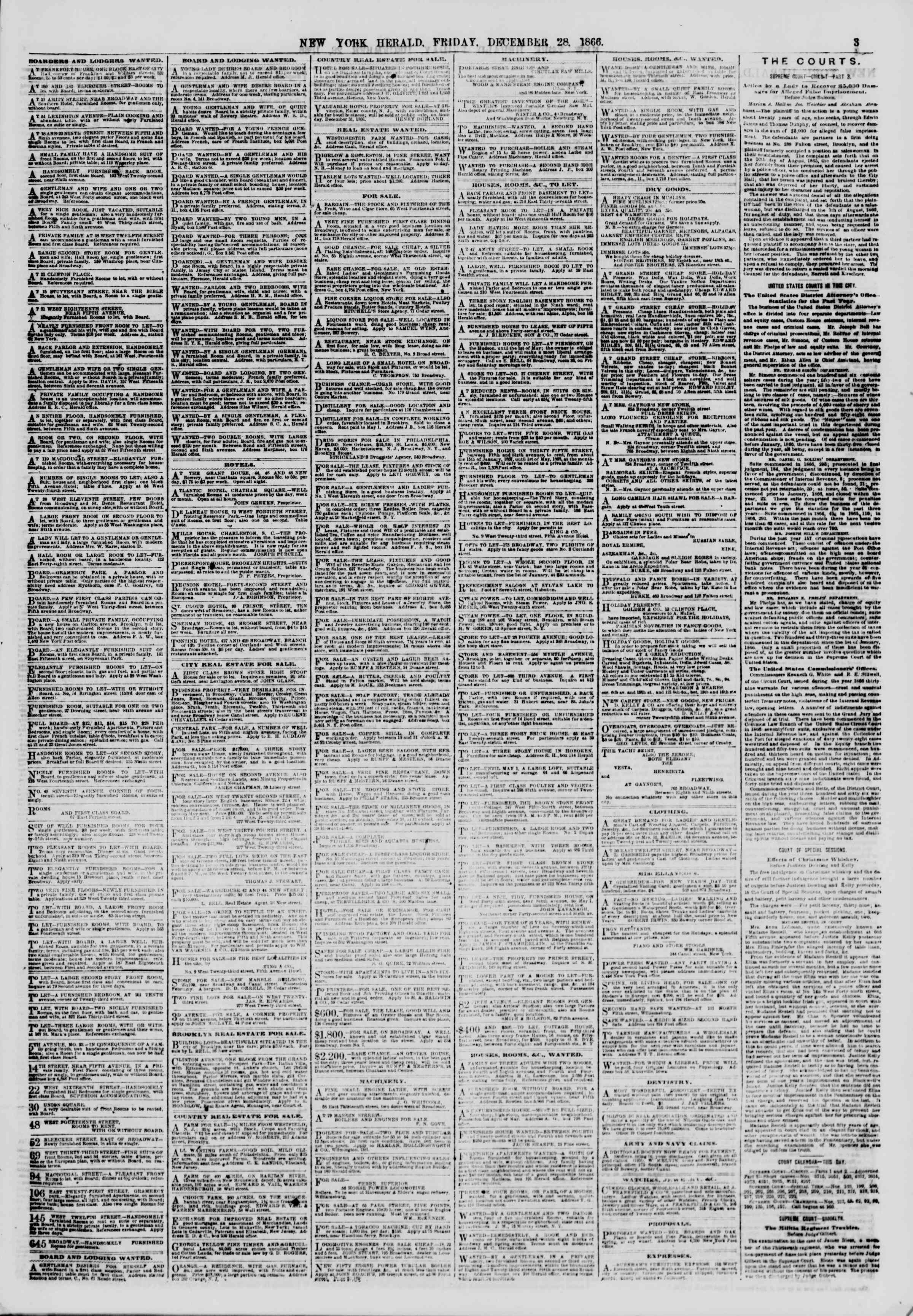 Newspaper of The New York Herald dated December 28, 1866 Page 3