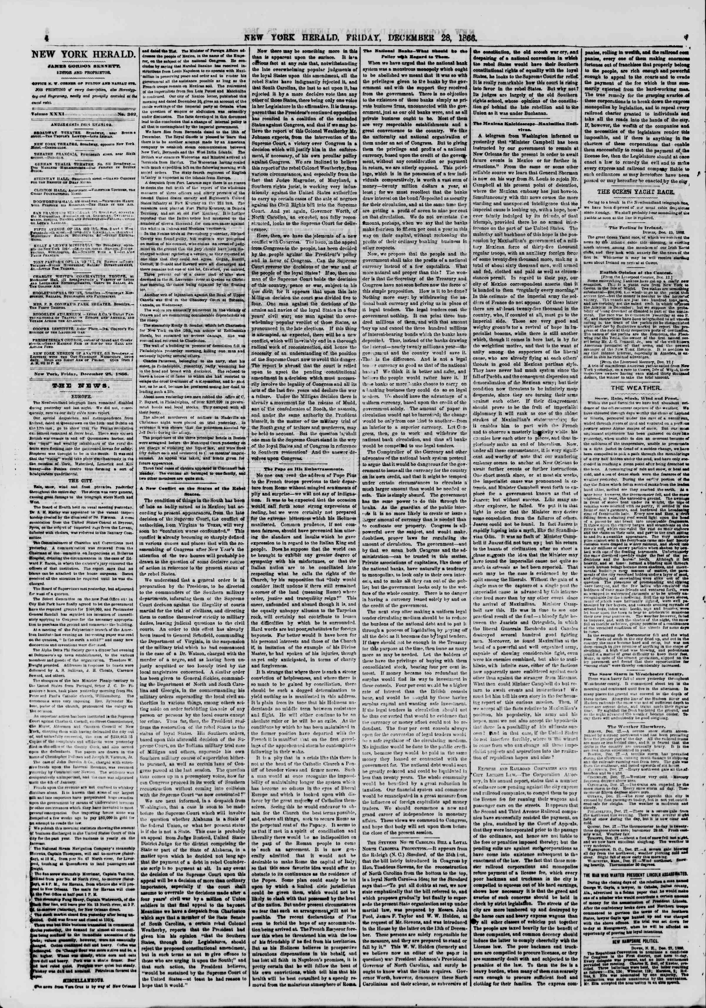 Newspaper of The New York Herald dated December 28, 1866 Page 4