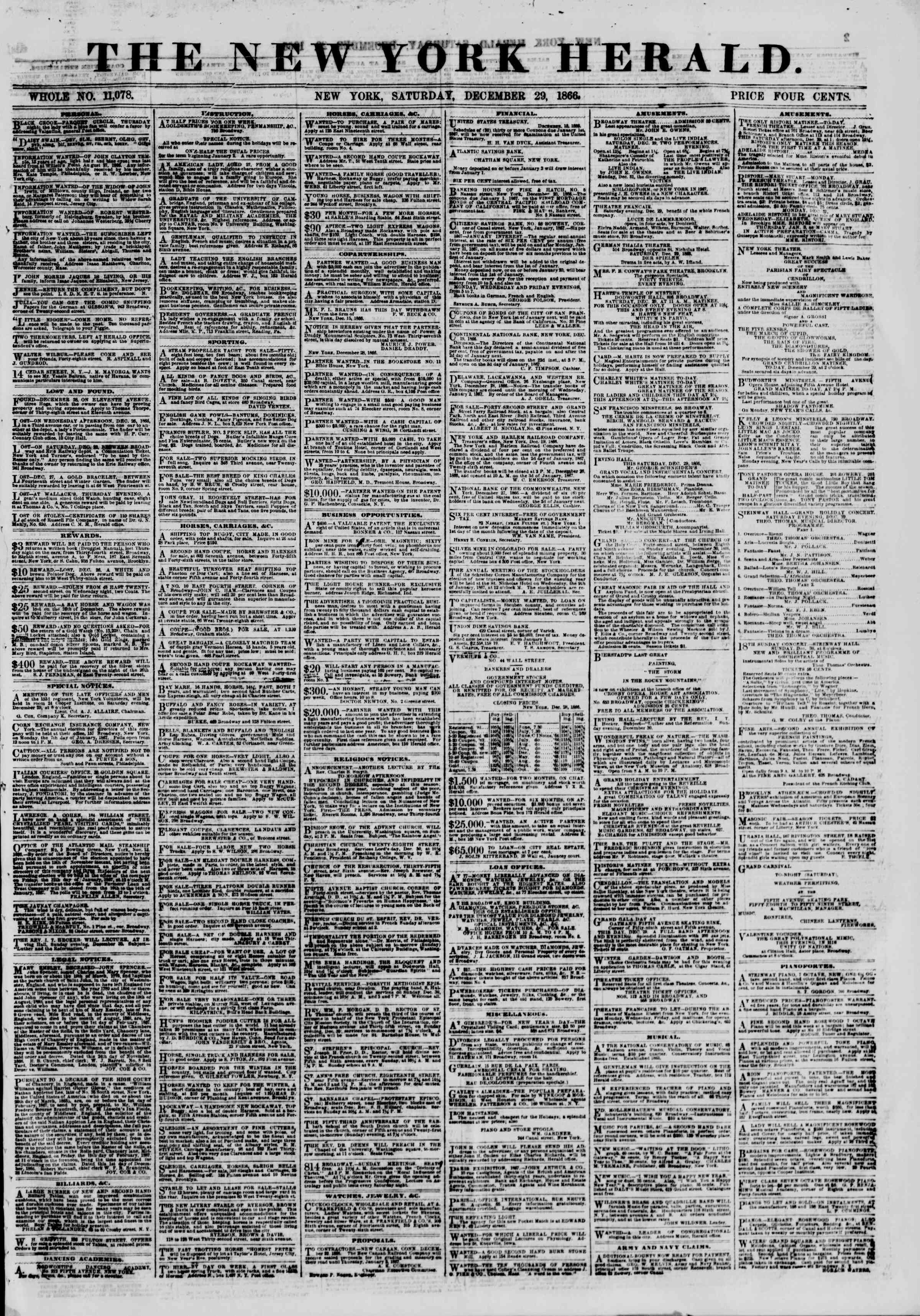 Newspaper of The New York Herald dated December 29, 1866 Page 1