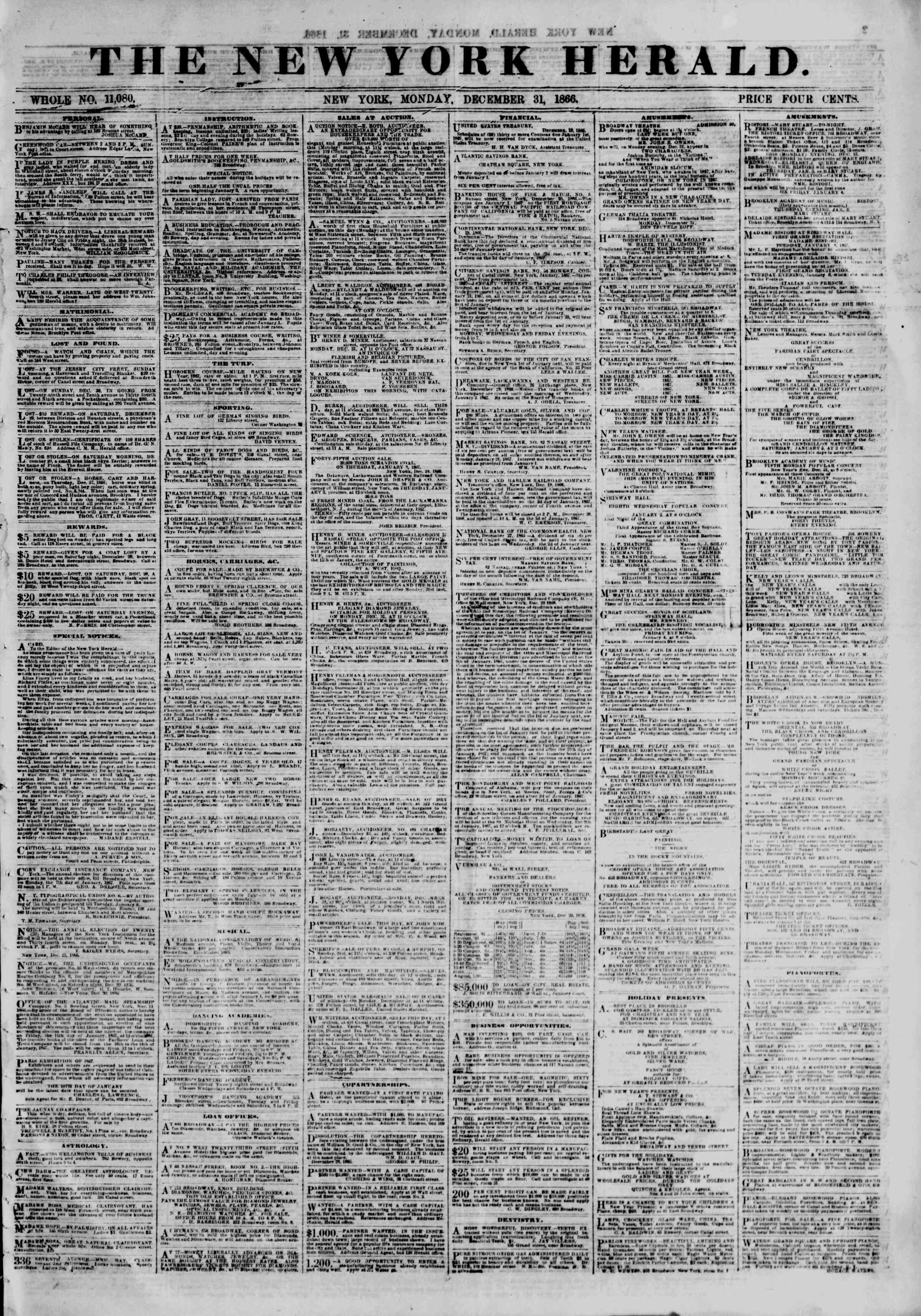 Newspaper of The New York Herald dated December 31, 1866 Page 1