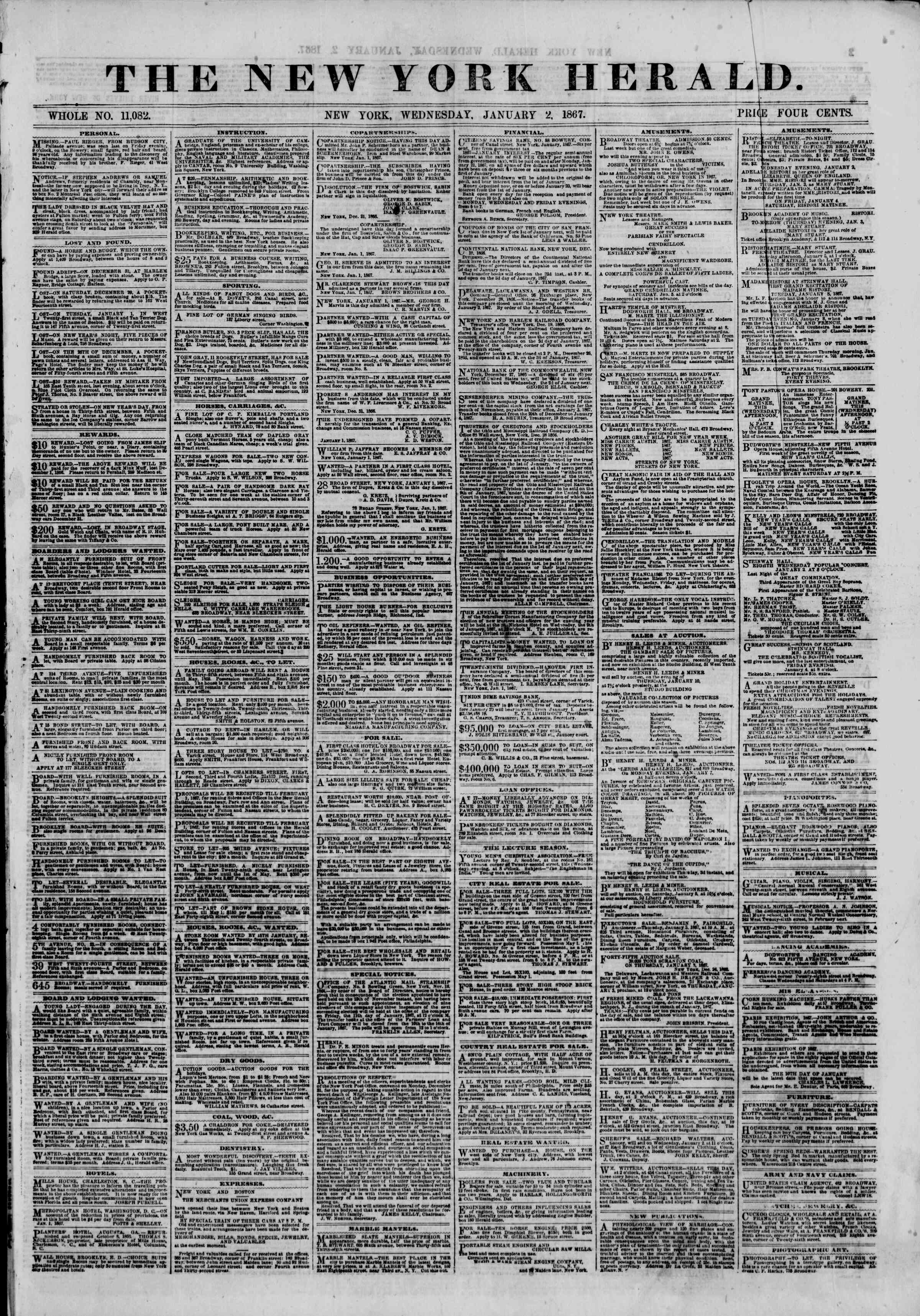 Newspaper of The New York Herald dated January 2, 1867 Page 1