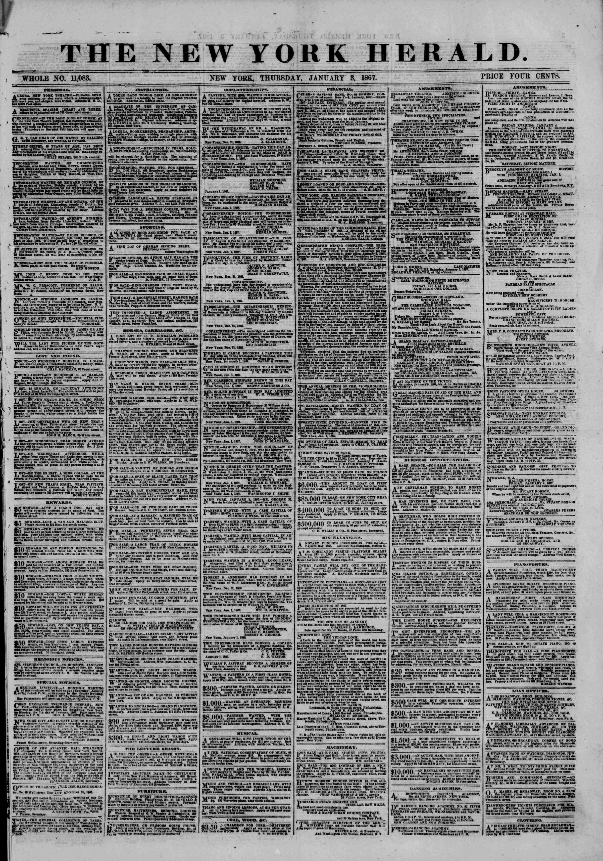 Newspaper of The New York Herald dated January 3, 1867 Page 1