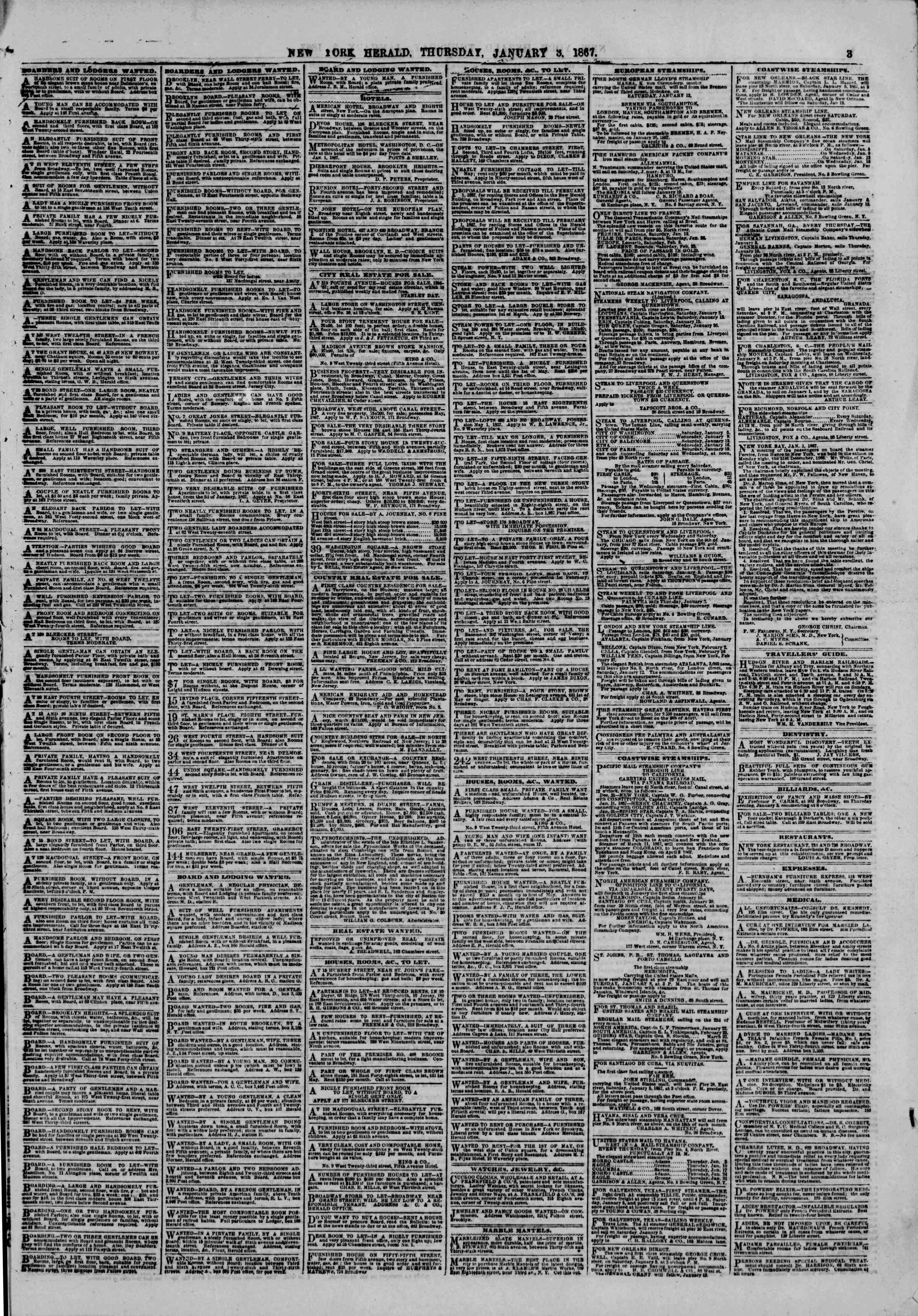 Newspaper of The New York Herald dated January 3, 1867 Page 3