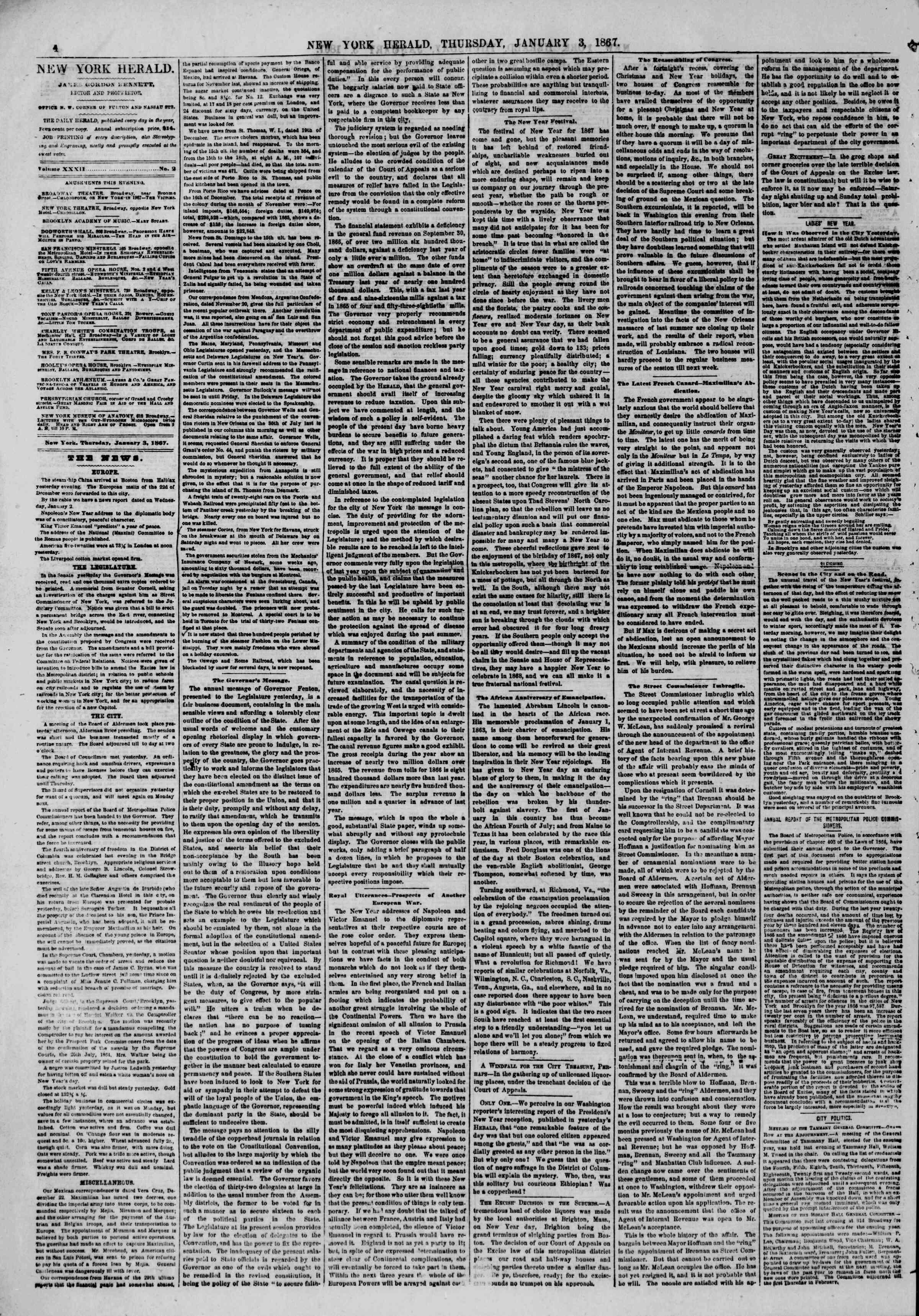 Newspaper of The New York Herald dated January 3, 1867 Page 4