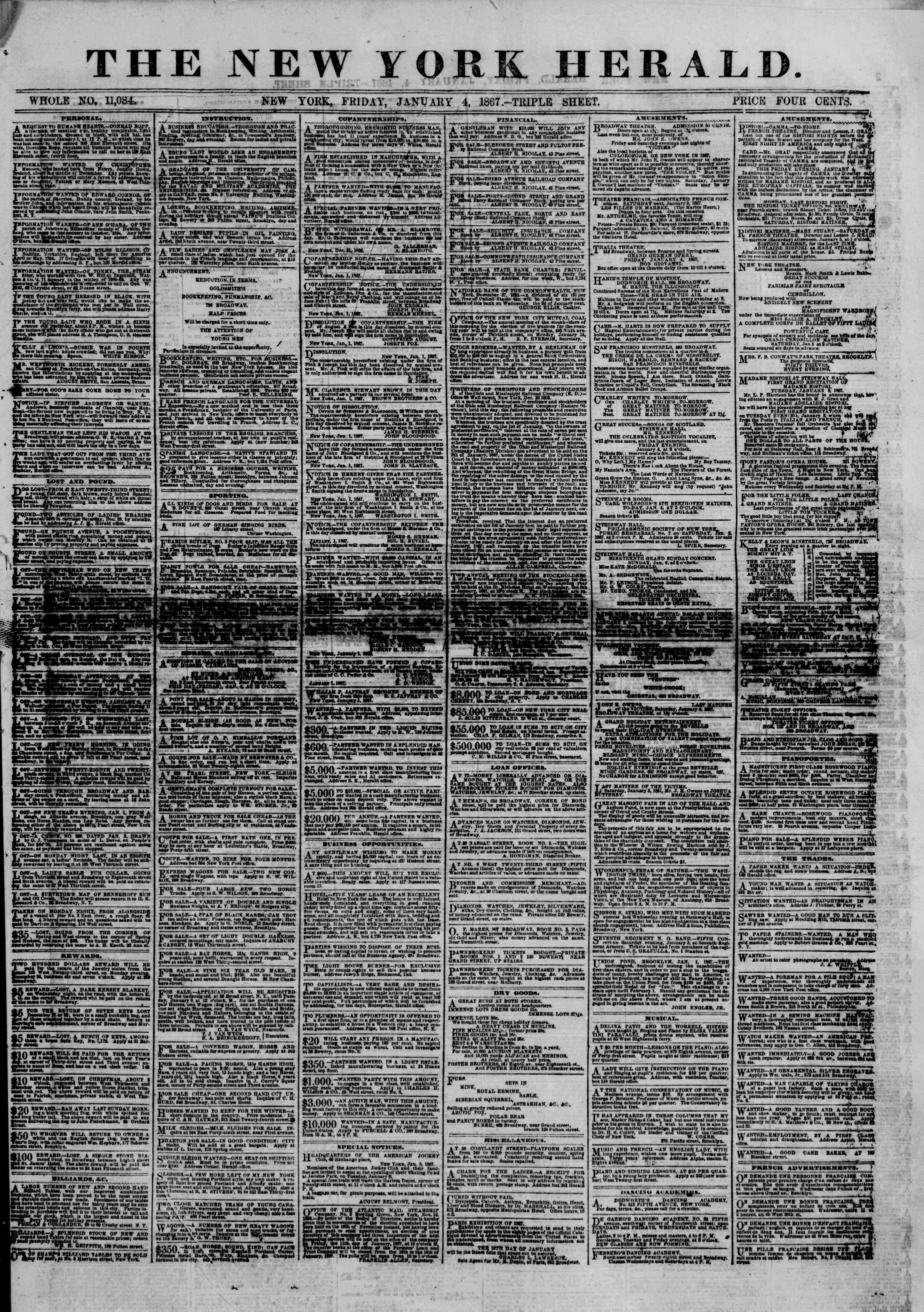 Newspaper of The New York Herald dated January 4, 1867 Page 1