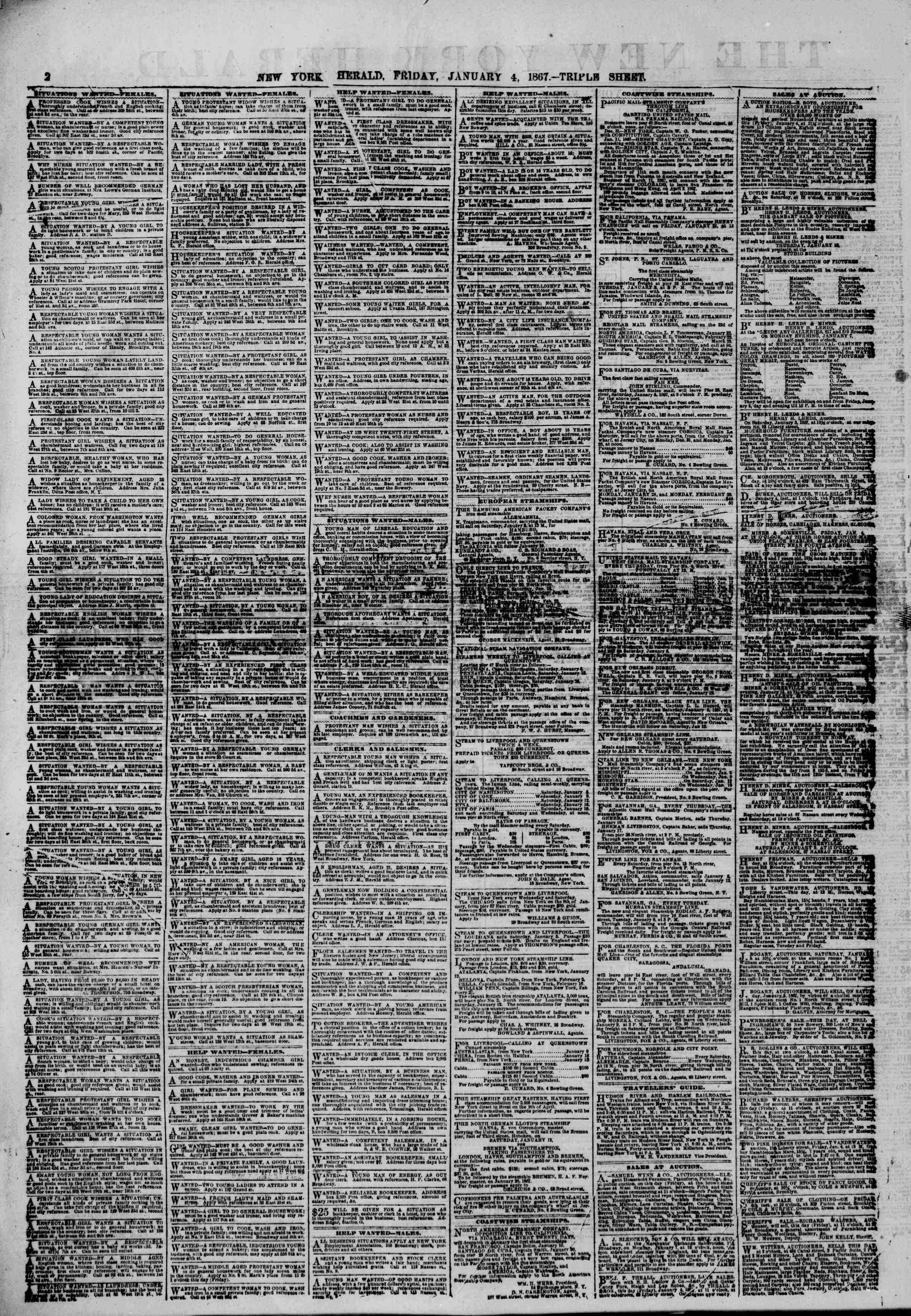 Newspaper of The New York Herald dated January 4, 1867 Page 2